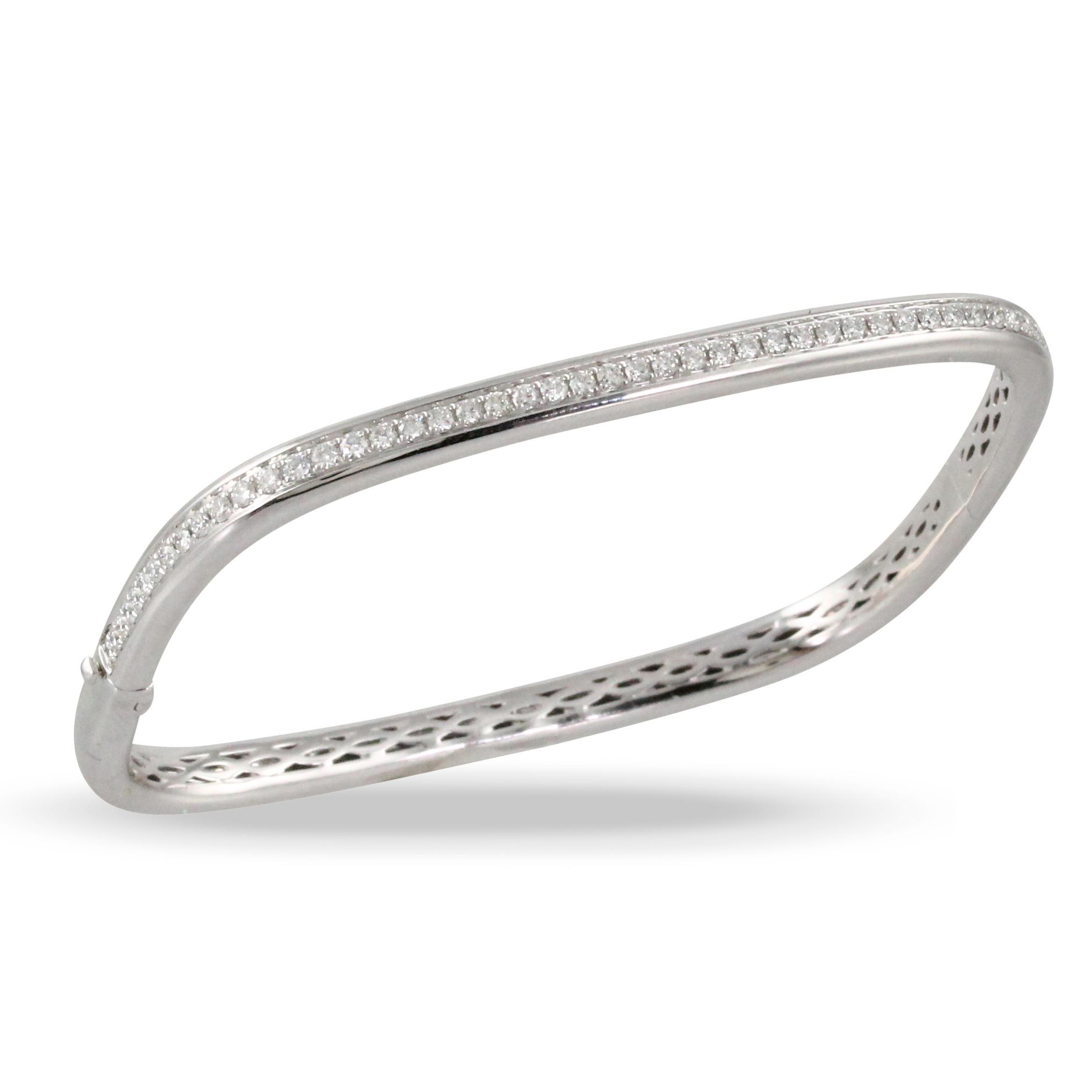 18K White Gold Diamond Bangle Bracelet - 18K White Gold Diamond Bangle