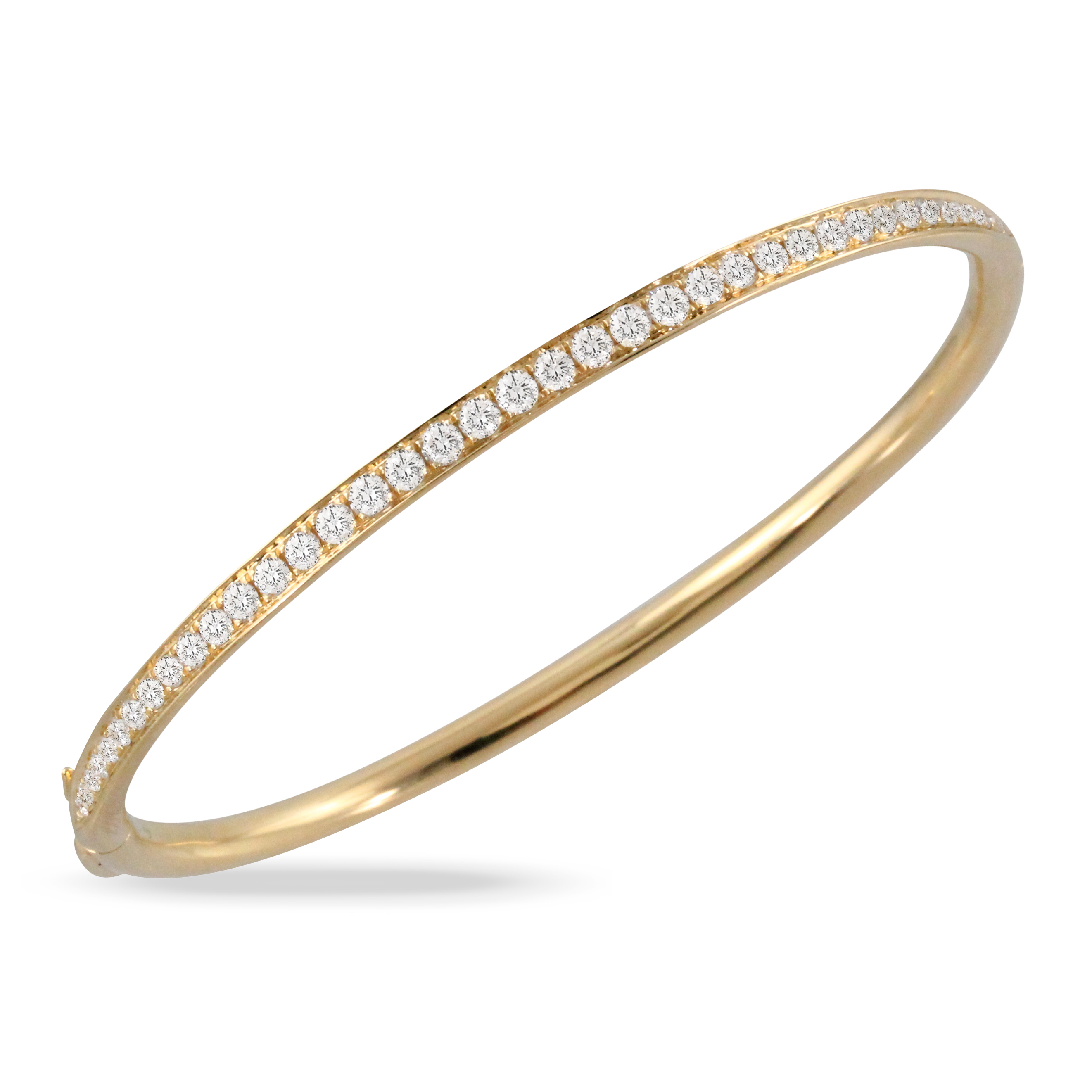 18K Yellow Gold Diamond Bangle Bracelet - 18K Yellow Gold Diamond Bangle