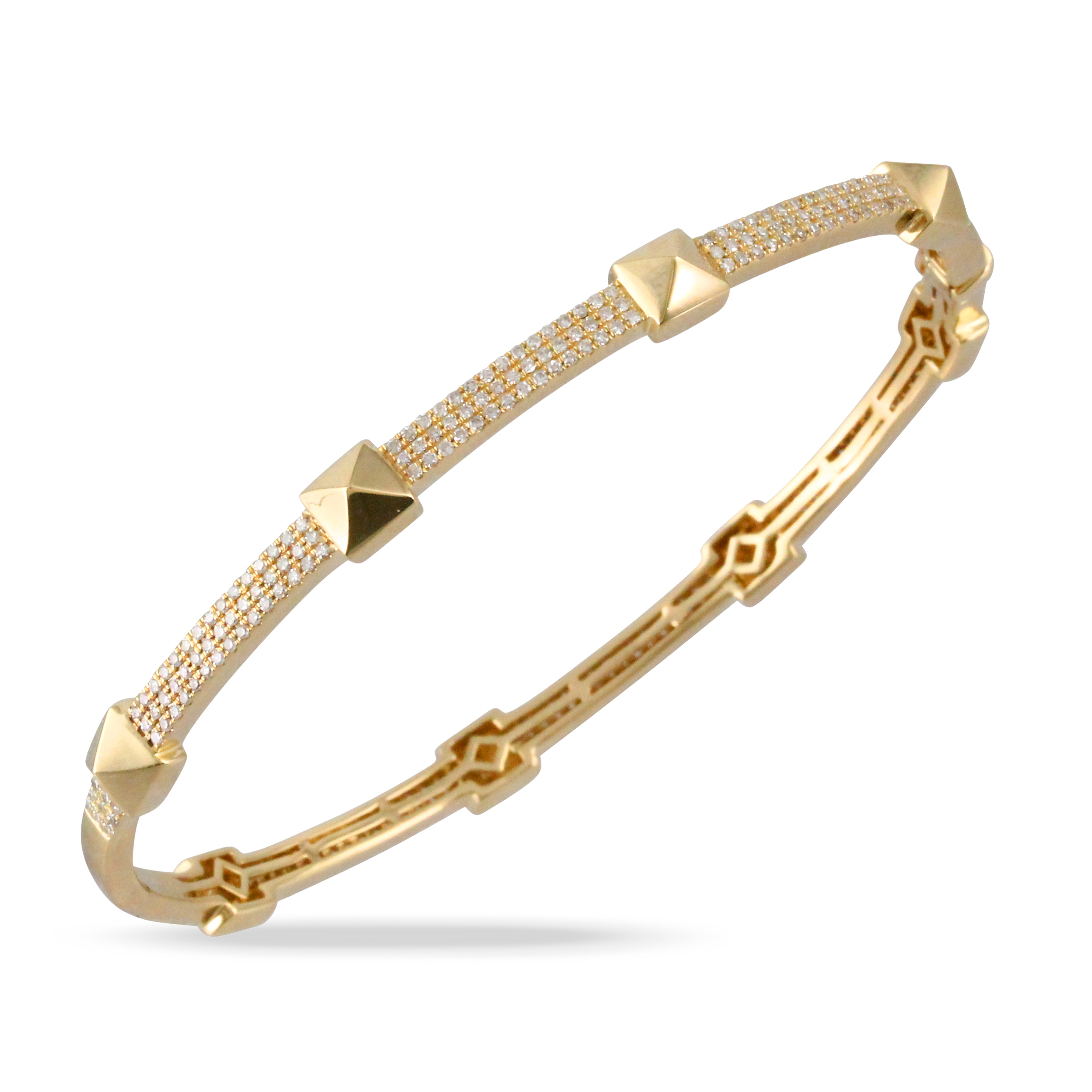14K Yellow Gold Diamond Bangle Bracelet - 14K Yellow Gold Diamond Bangle