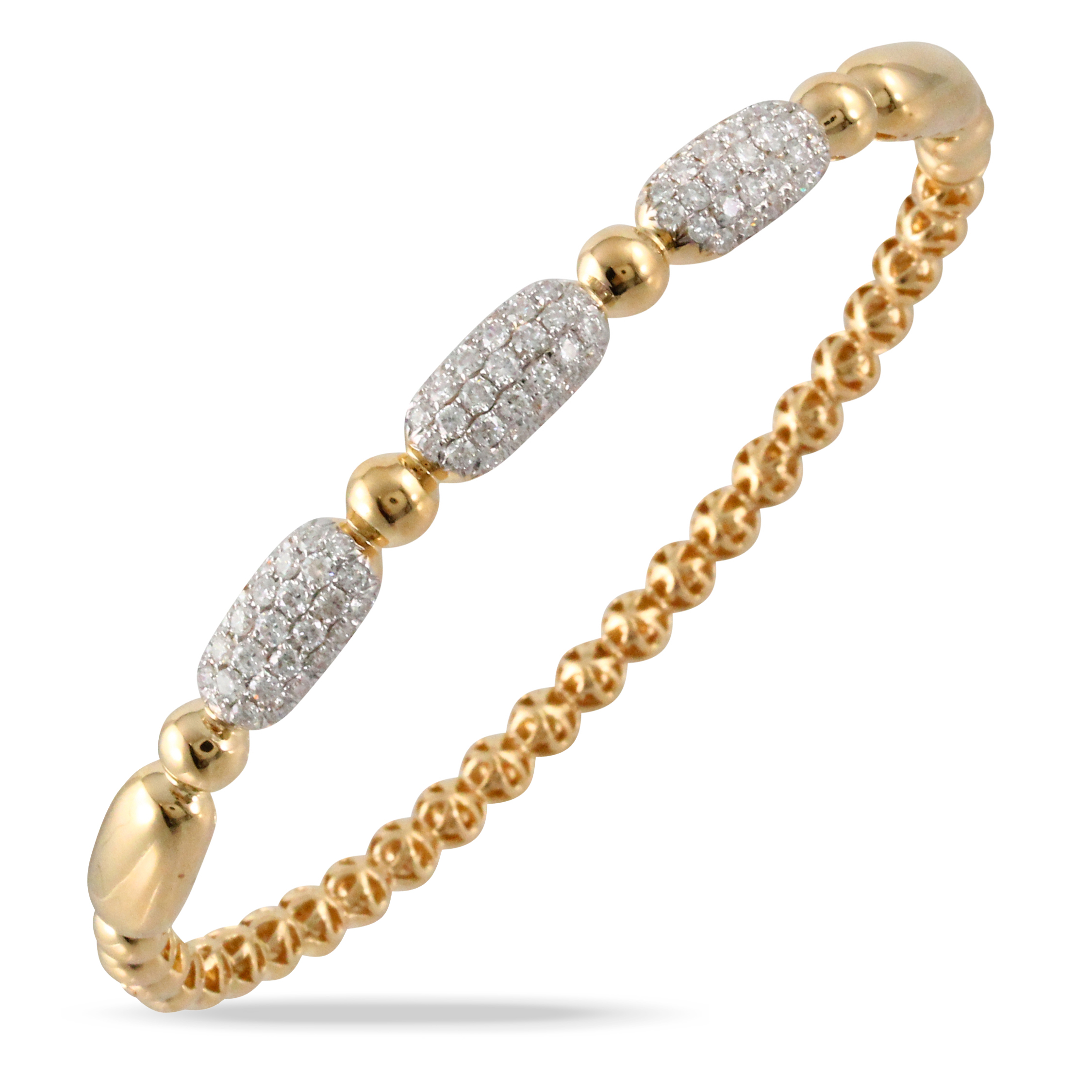 18K White Gold Diamond Bangle Bracelet - 18K Yellow Gold Diamond Bangle