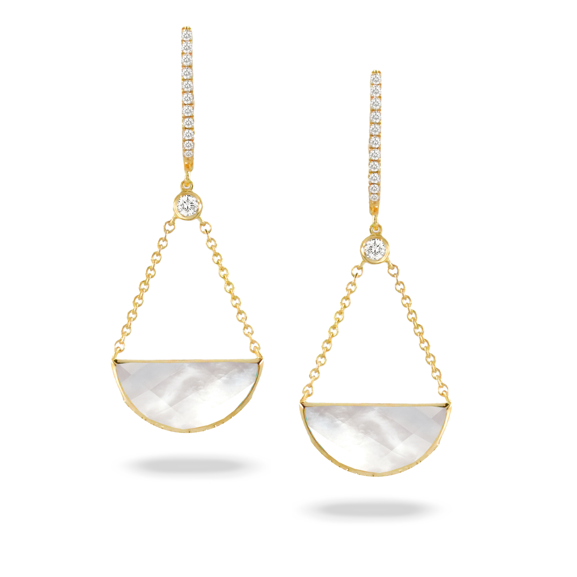 18K Yellow Gold Pearl Earrings by Dove