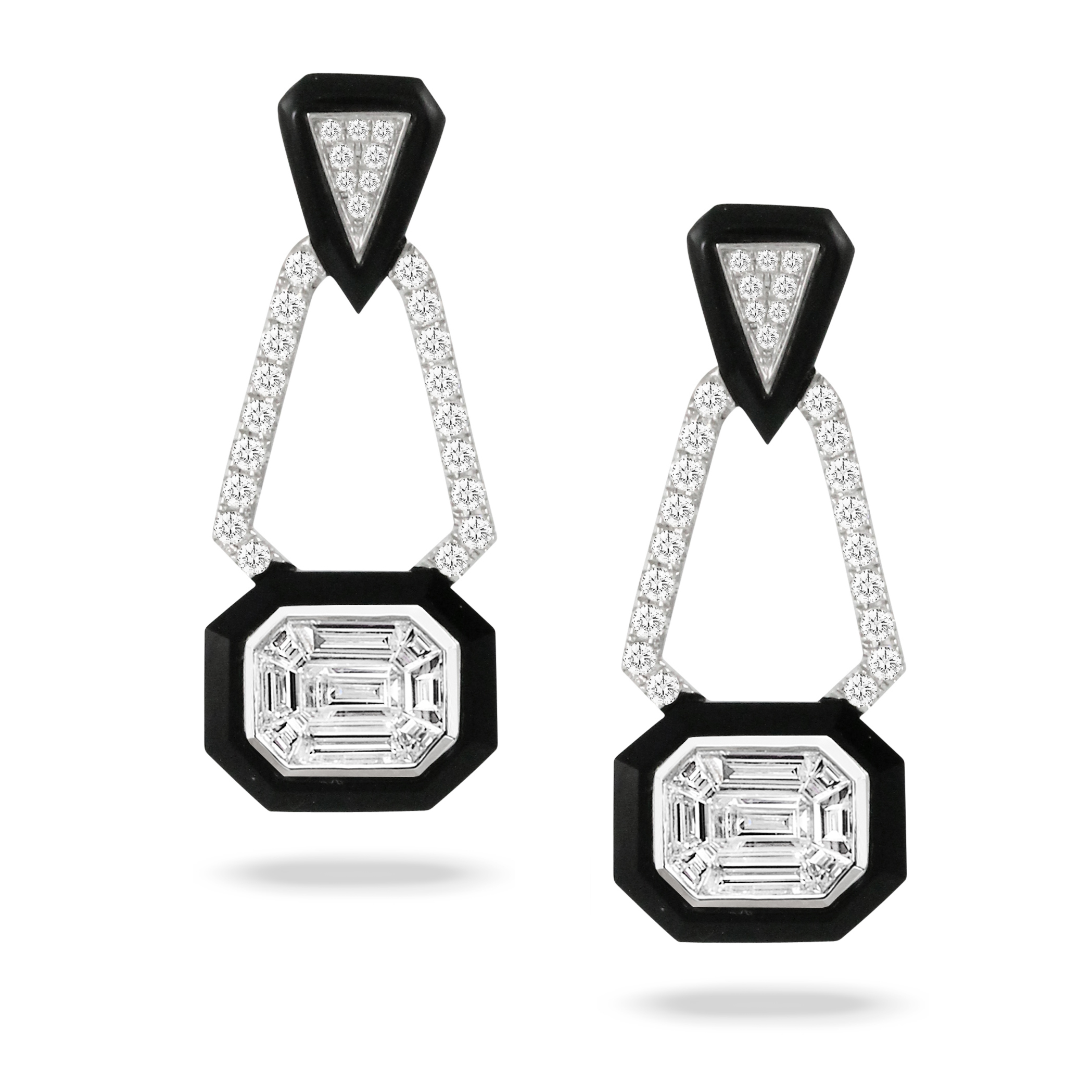 18K Diamond Earrings - 18K White Gold Invisible Set Diamond Earring With Black Onyx