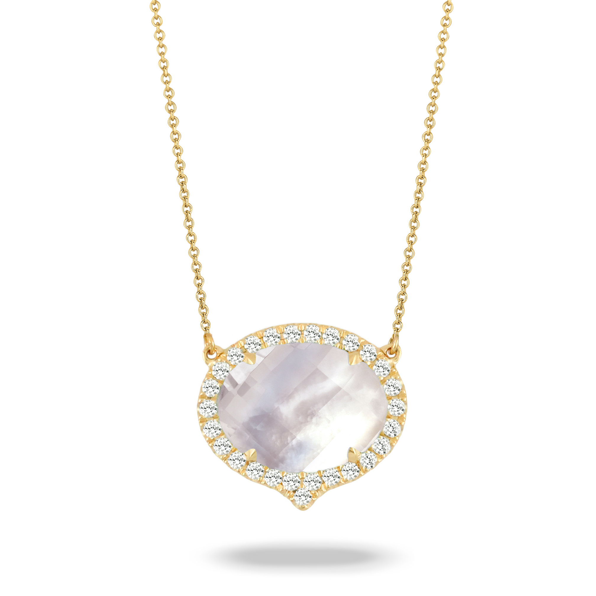 18K Yellow Gold Pearl Necklace - 18K Yellow Gold Diamond Necklace With Clear Quartz Over White Mother Of Pearl