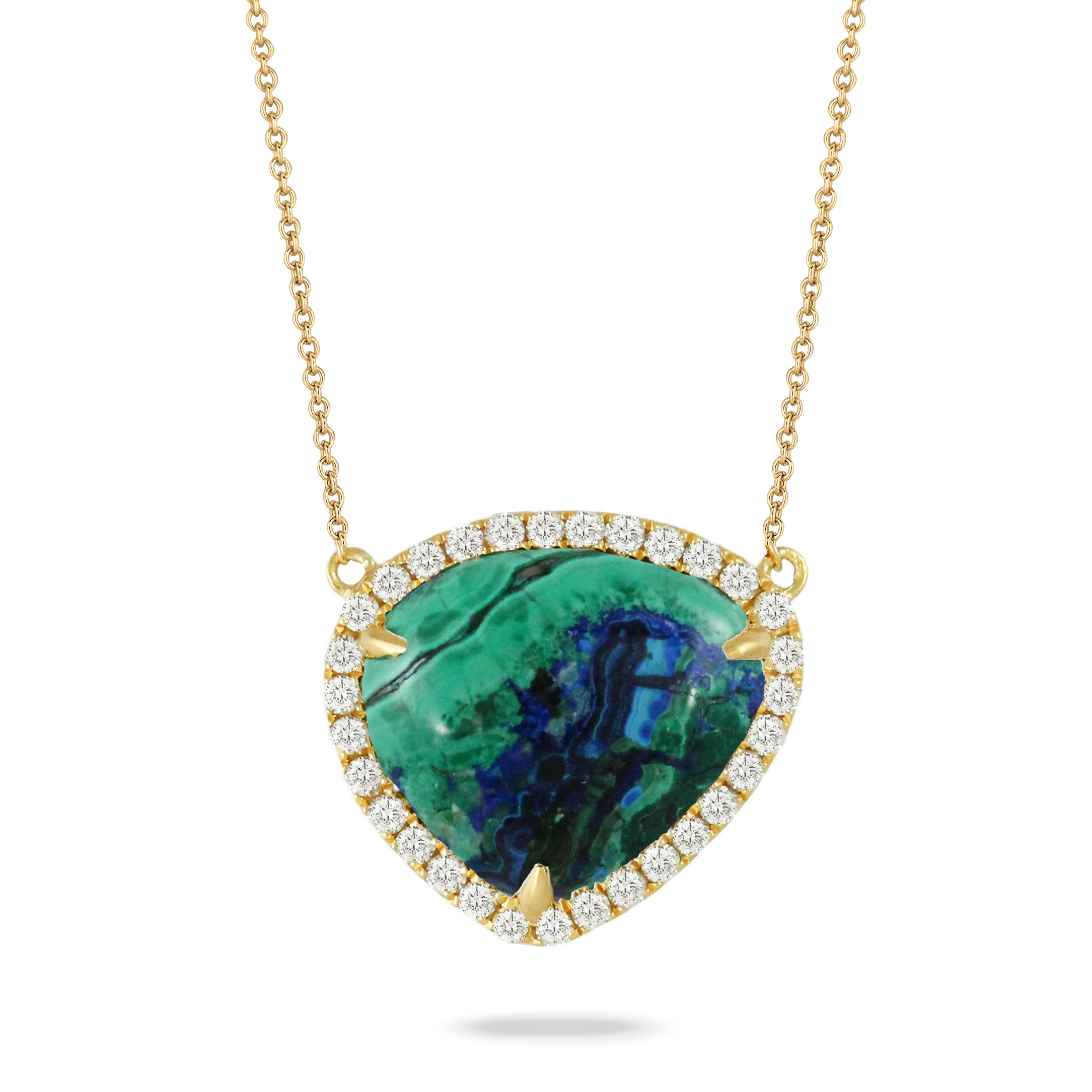 18K Yellow Gold Azurite-Malachite Necklace - 18K Yellow Gold Diamond Nekclace With Azurite Malachite