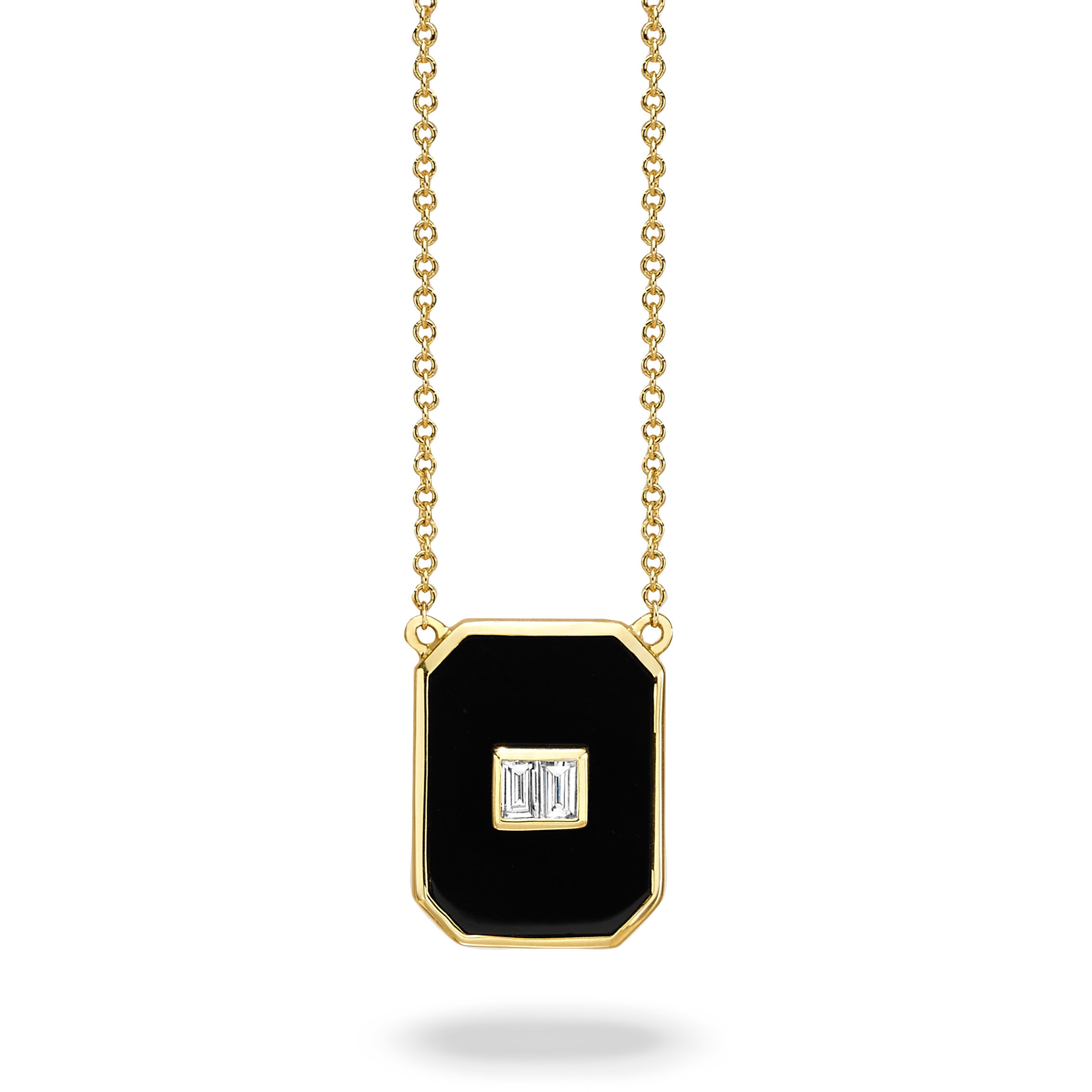18K Yellow Gold Onyx Necklace by Dove