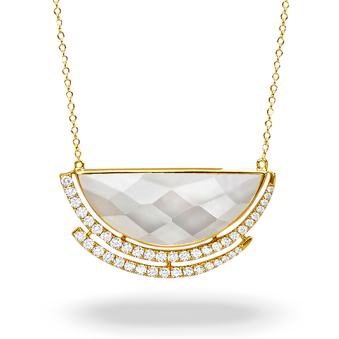 18K Diamond Gemstone Necklace - 18K Yellow Gold Diamond Necklace With Clear Quartz Over White Mother Of Pearl.