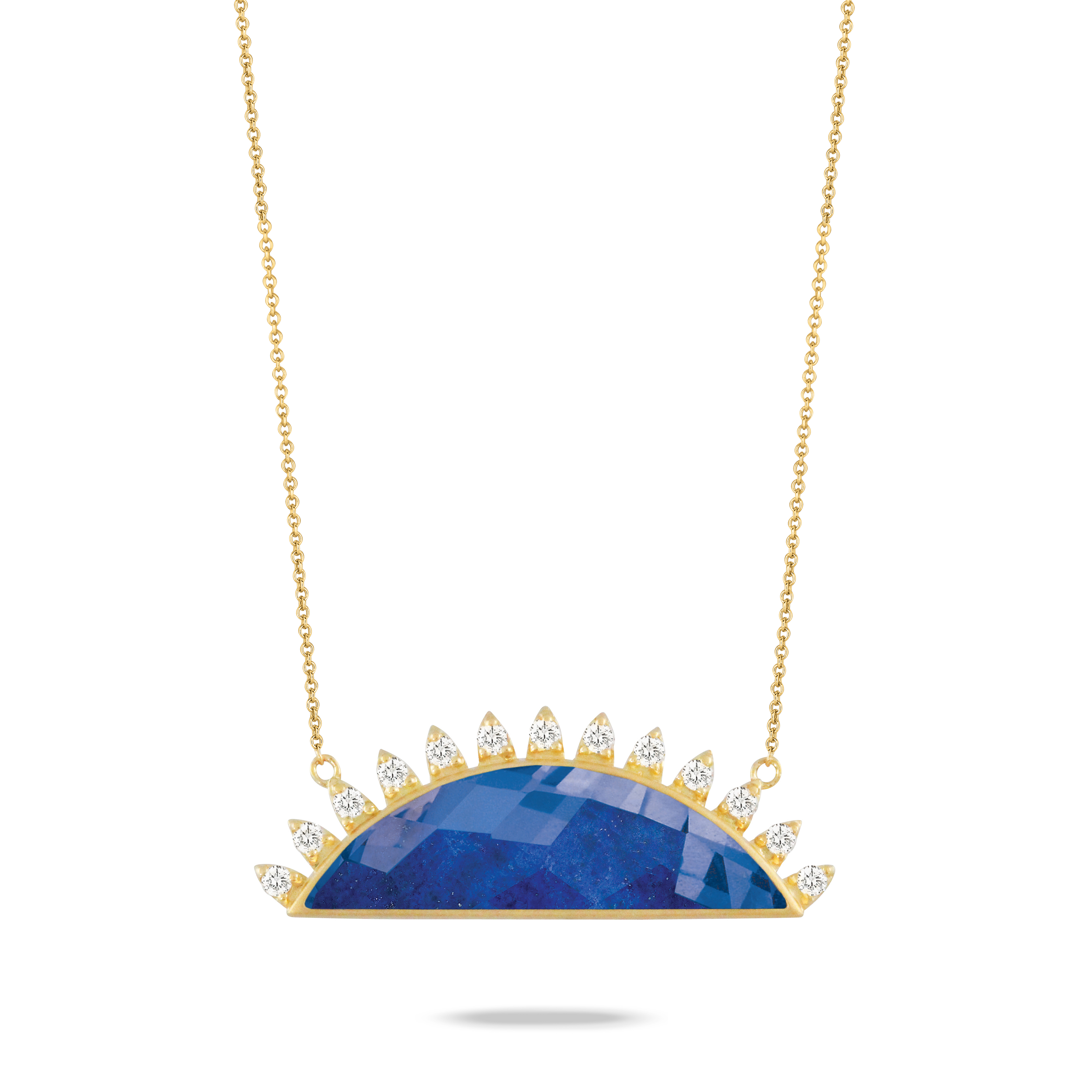 18K Yellow Gold Lapis Lazuli Necklace - 18K Yellow Gold Diamond Necklace With Clear Quartz Over Lapis