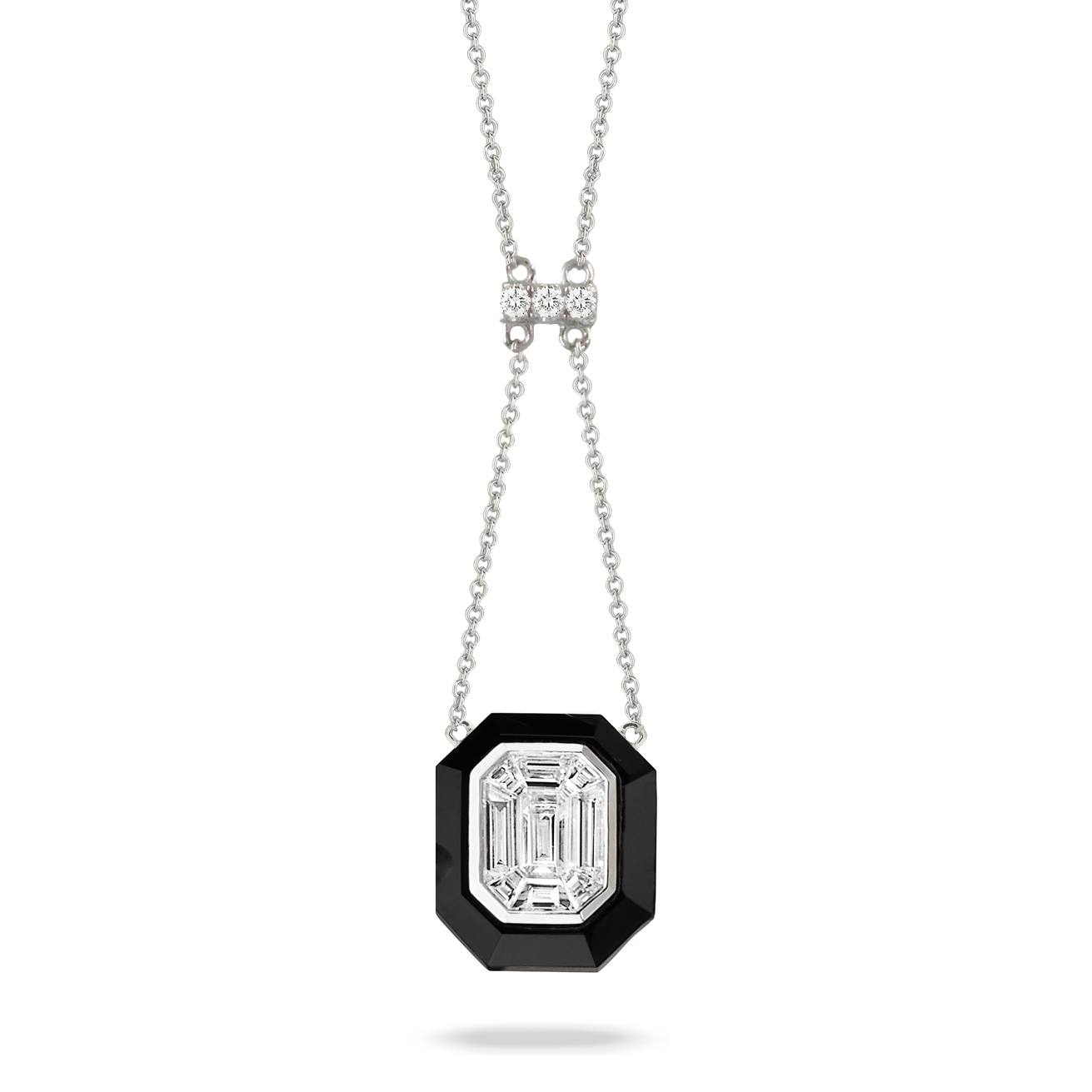 18K White Gold Onyx Necklace - 18K White Gold Invisible Set Diamond Necklace With Black Onyx