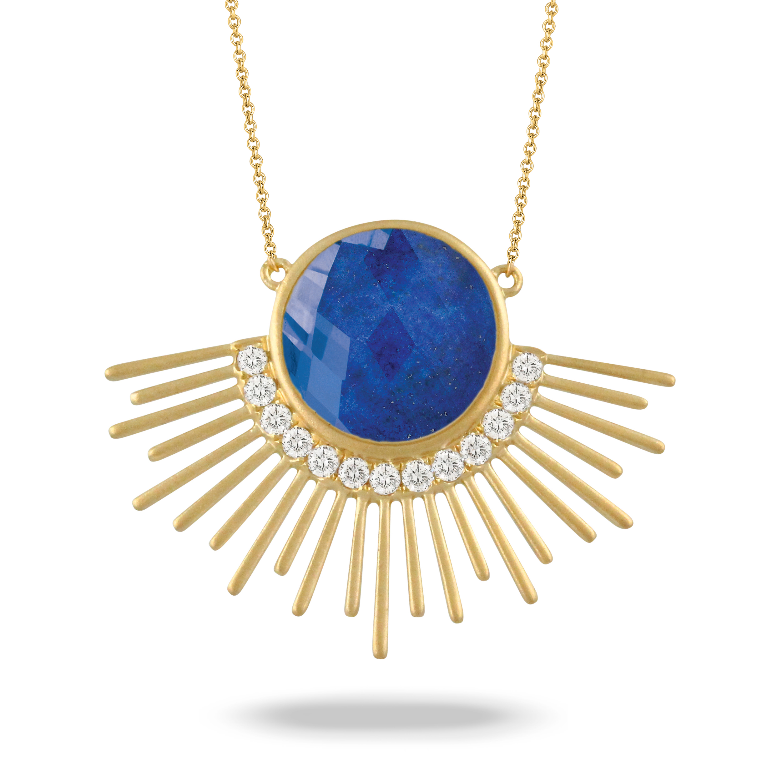 18K Yellow Gold Lapis Lazuli Necklace - 18K Yellow Gold Diamond Necklace With Clear Quartz Over Lapis In Satin Finish