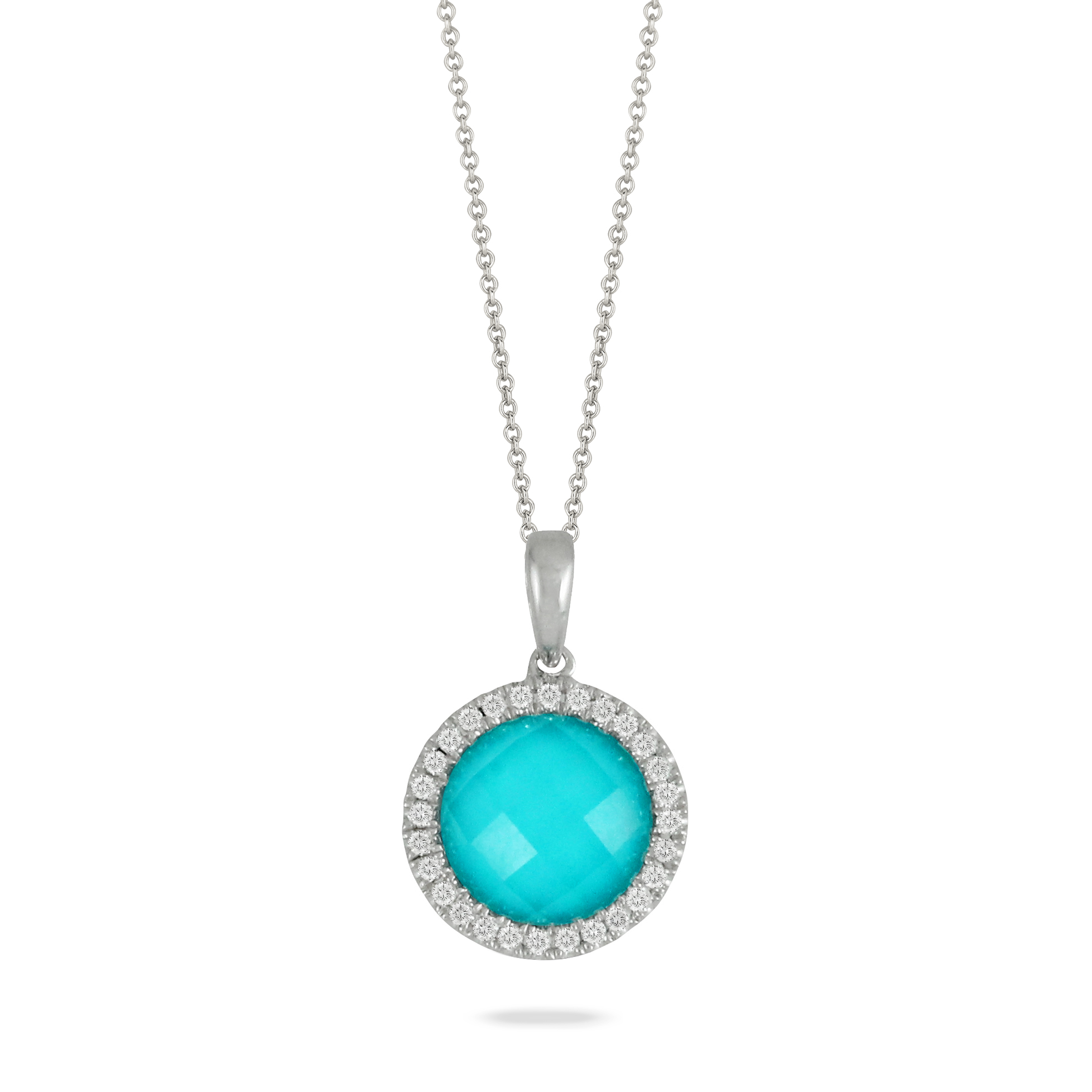 18K White Gold Turquoise Pendant by Dove