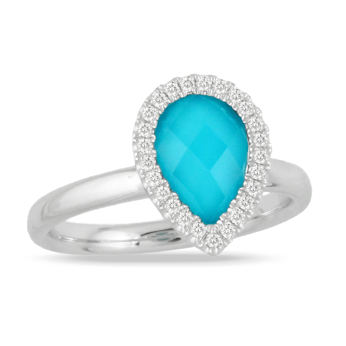18K White Gold Turquoise Fashion Ring by Dove