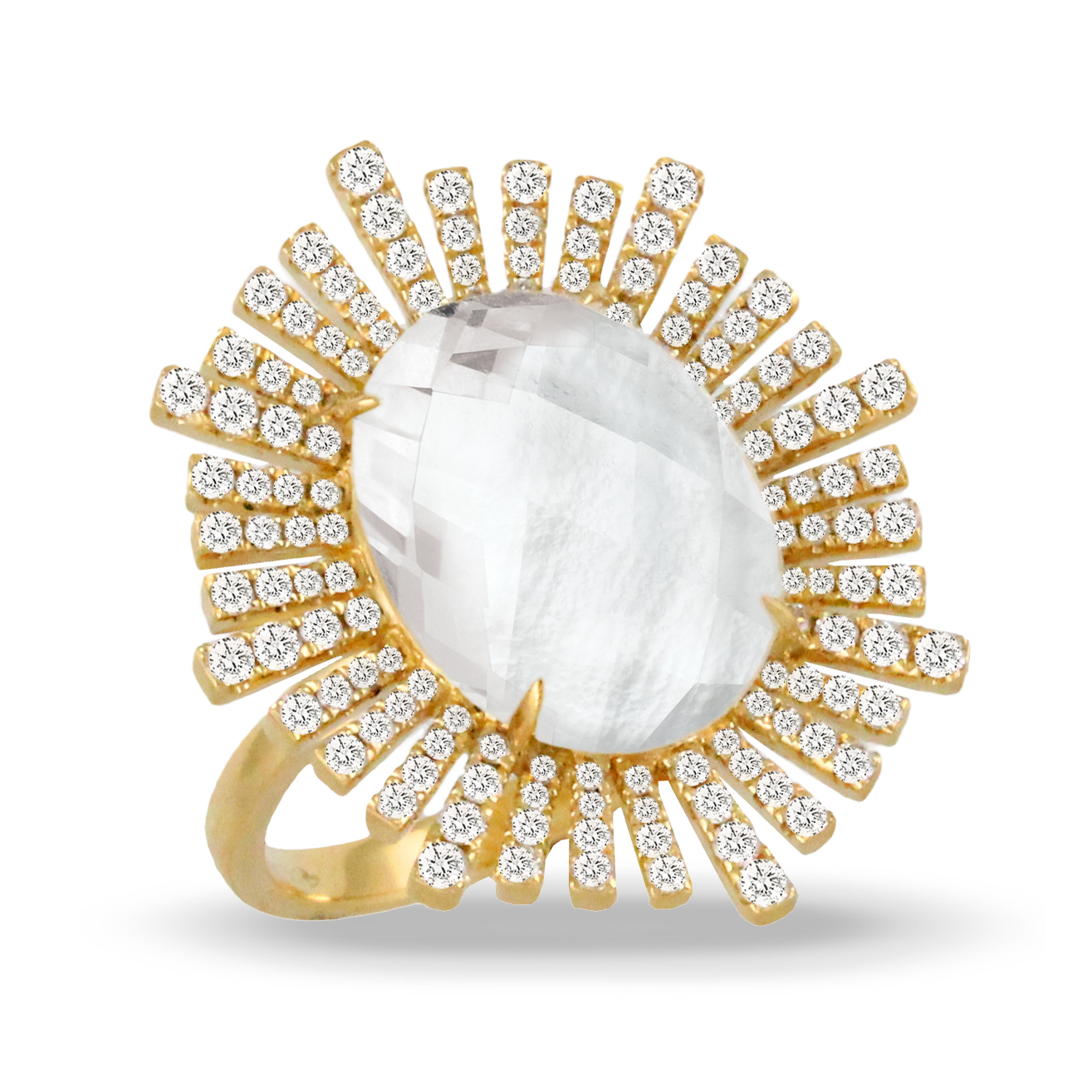 18K Diamond Pearl Ring - 18K Yellow Gold Diamond Ring With Clear Quartz Over White Mother Of Pearl