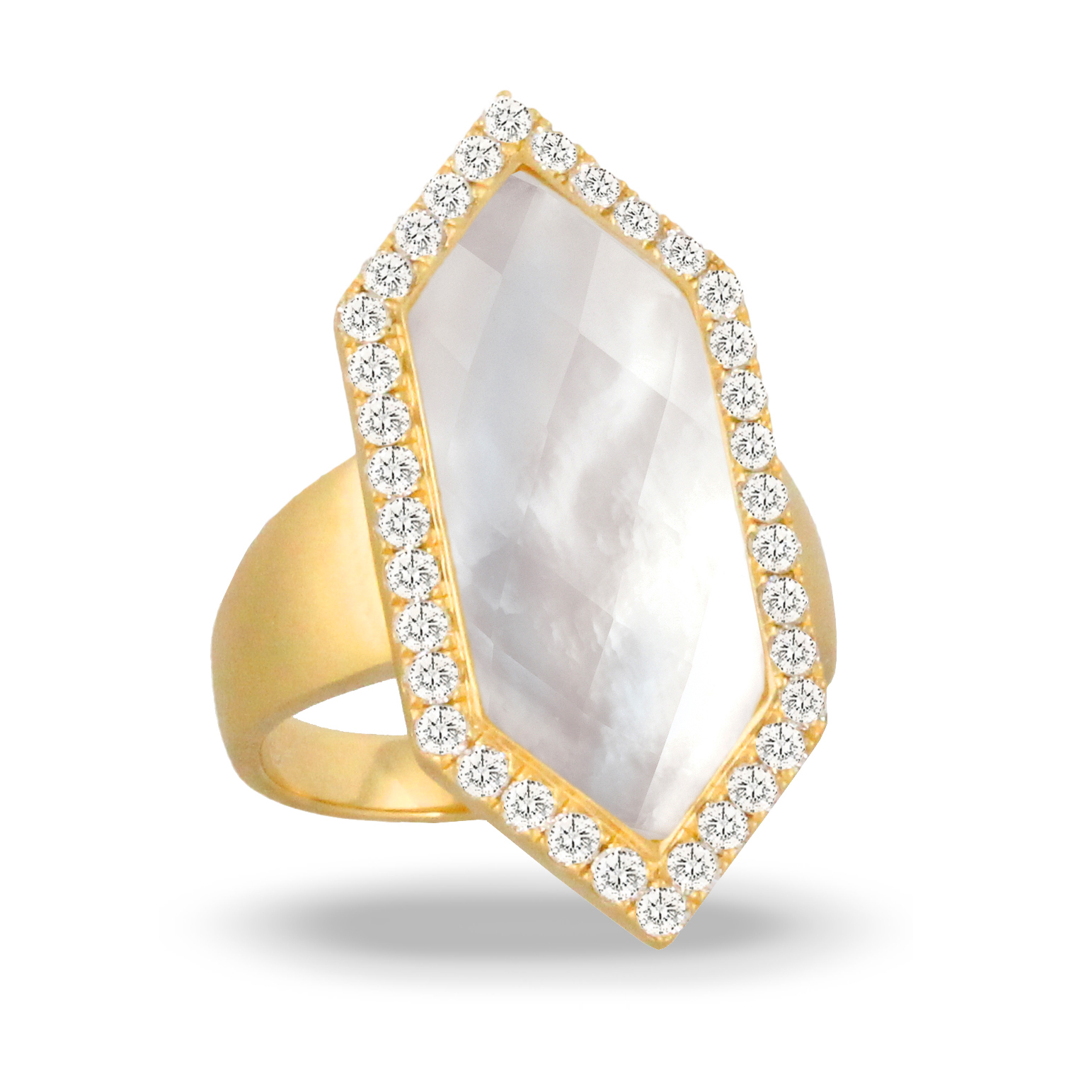 18K Diamond Pearl Ring - 18K Yellow Gold Diamond Ring With Clear Quartz Over White Mother Of Pearl Center. In Satin Finish
