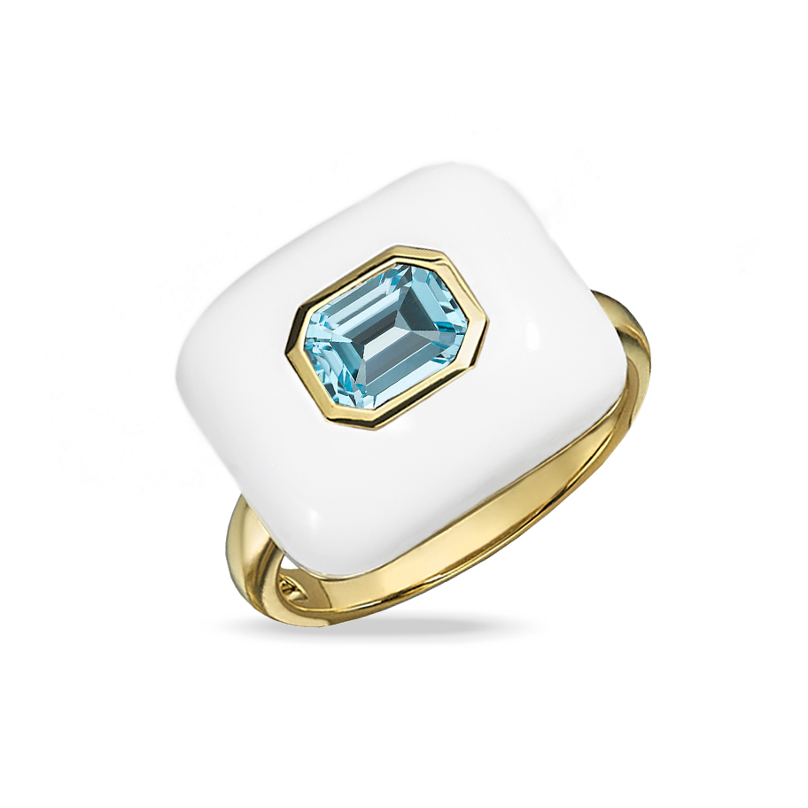 18K Yellow Gold Agate Fashion Ring by Dove