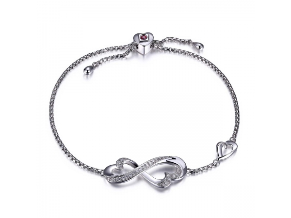 Sterling Silver Rhodium Plated Bracelet 1.6Mm  by ELLE