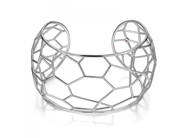Sterling Silver Rhodium Plated Cuff by ELLE