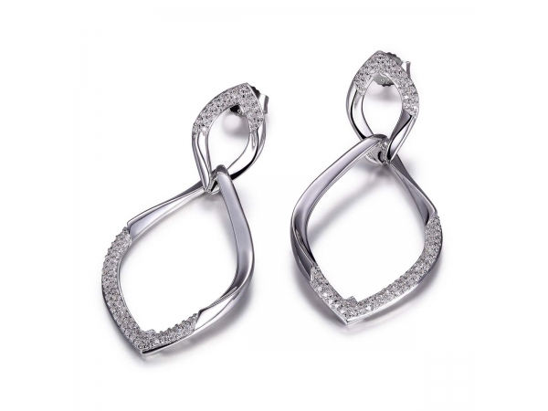 Sterling Silver Rhodium Plated Earrings (0.8Mm)   by ELLE
