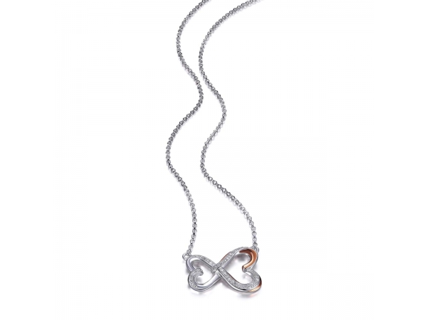 Sterling Silver Rhodium Plated Rose Necklace  by ELLE