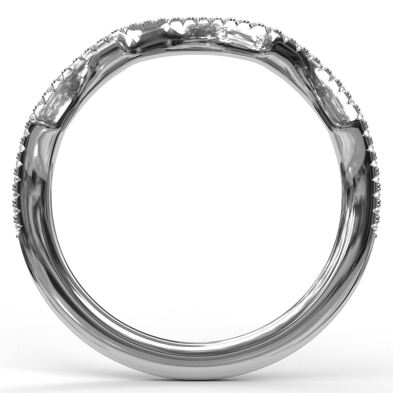 Women's Wedding Bands - Diamond Wedding Band - image #2