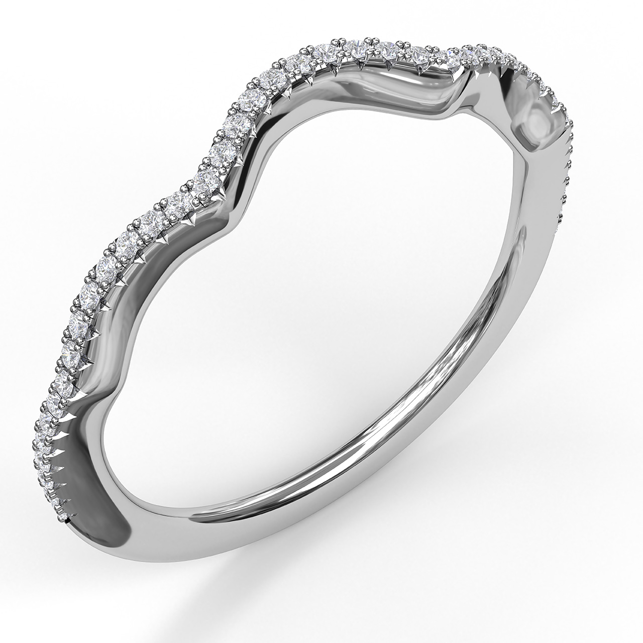 Women's Wedding Bands - Diamond Wedding Band - image #3
