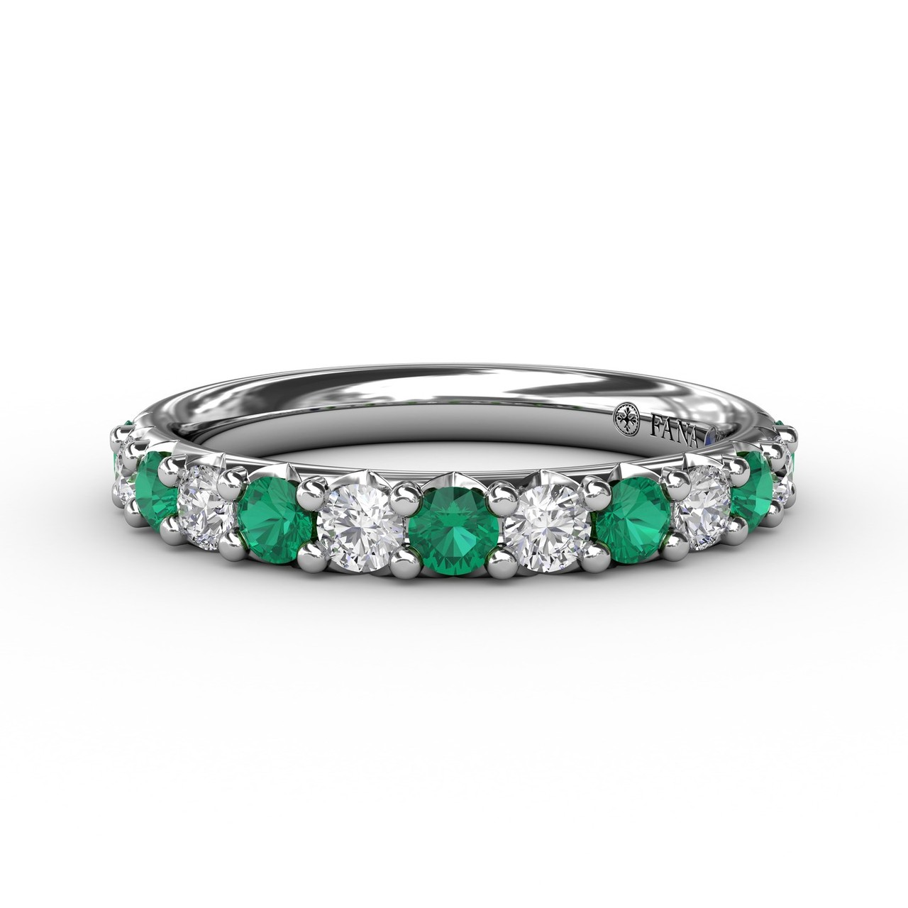 Anniversary Bands - Emerald and Diamond Shared Prong Anniversary Band