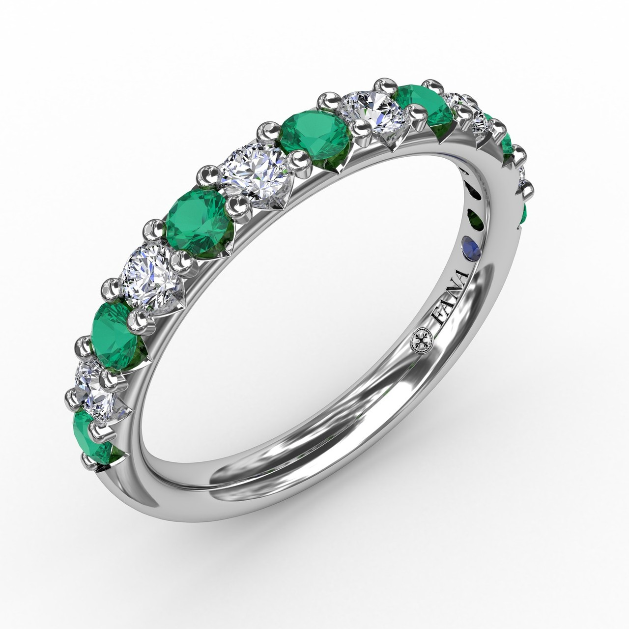 Anniversary Bands - Emerald and Diamond Shared Prong Anniversary Band - image #3