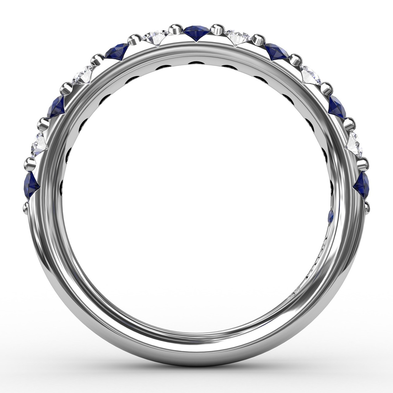 Anniversary Bands - Sapphire and Diamond Shared Prong Anniversary Band - image #2