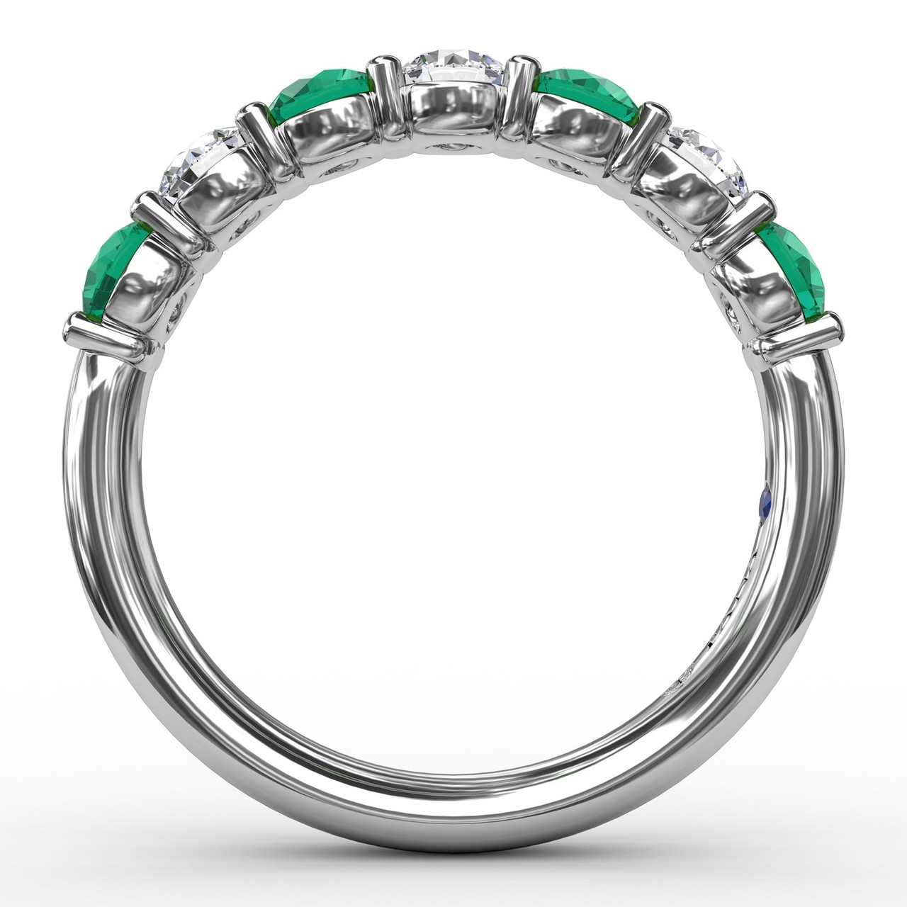 Anniversary Bands - Emerald and Diamond Shared Prong Anniversary Band - image #2
