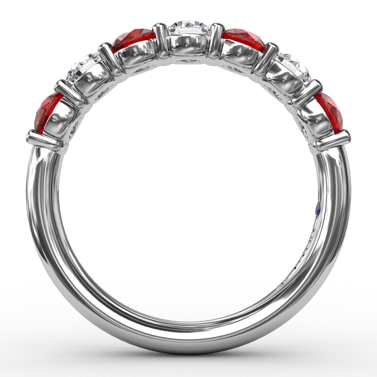 Anniversary Bands - Ruby and Diamond Shared Prong Anniversary Band - image #2