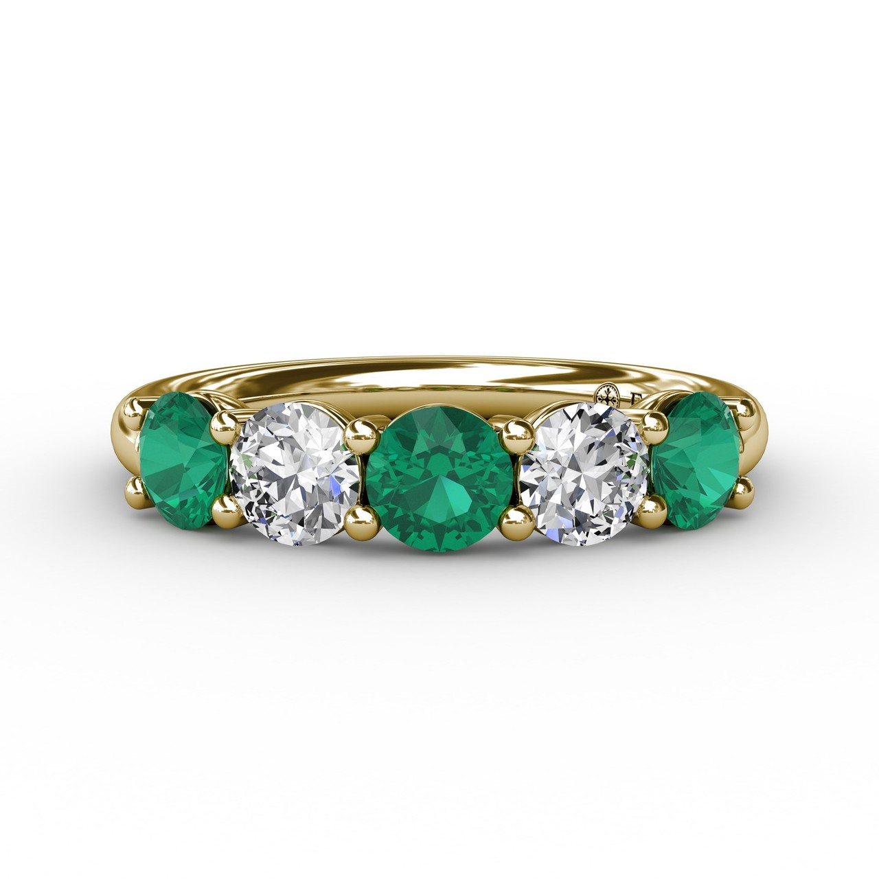 Anniversary Bands - Chunky Emerald and Diamond Shared Prong Anniversary Band