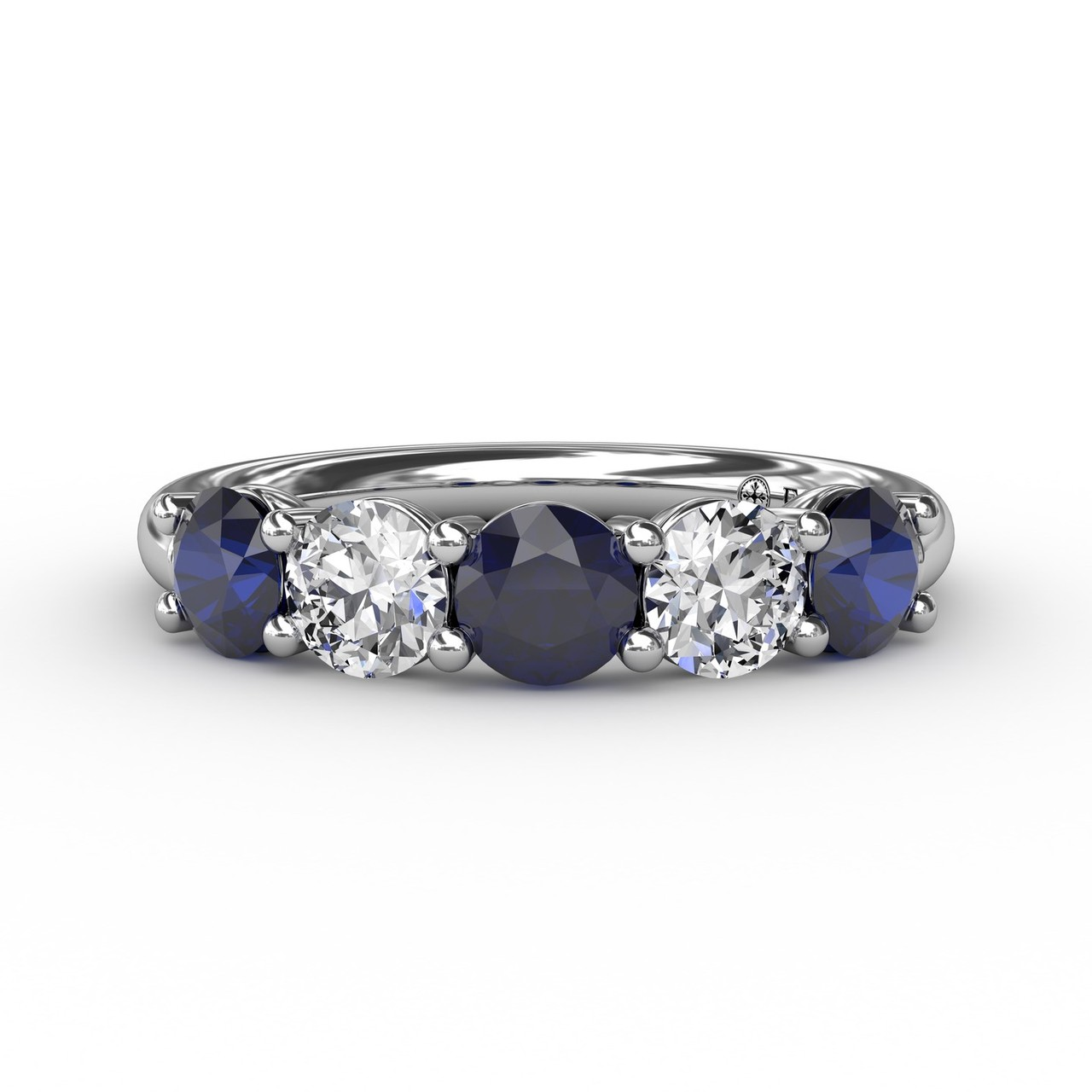 Anniversary Bands - Chunky Sapphire and Diamond Shared Prong Anniversary Band