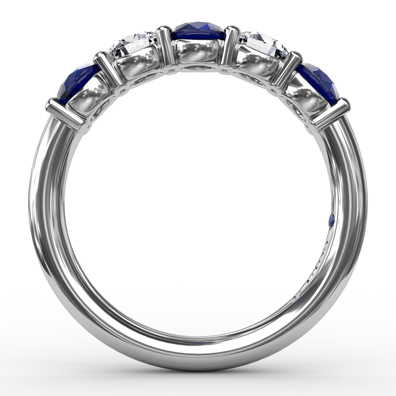 Anniversary Bands - Chunky Sapphire and Diamond Shared Prong Anniversary Band - image #2