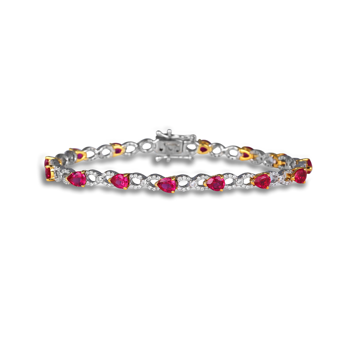 Ruby and Diamond Pear shape Bracelets - This ruby and diamond pear shape bracelets comes in a variety of material types like 14k white gold, yellow gold, rose gold and can be customized with your jeweler. Fana gemstone bracelets are perfect for that special woman in your life.