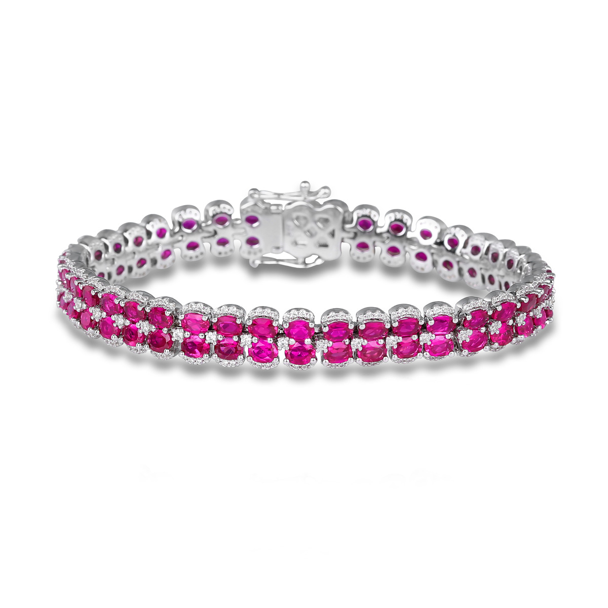 Double Oval Ruby and Diamond Bracelet - This double oval ruby and diamond bracelet comes in a variety of material types like 14k white gold, yellow gold, rose gold and can be customized with your jeweler. Fana gemstone bracelets are perfect for that special woman in your life.