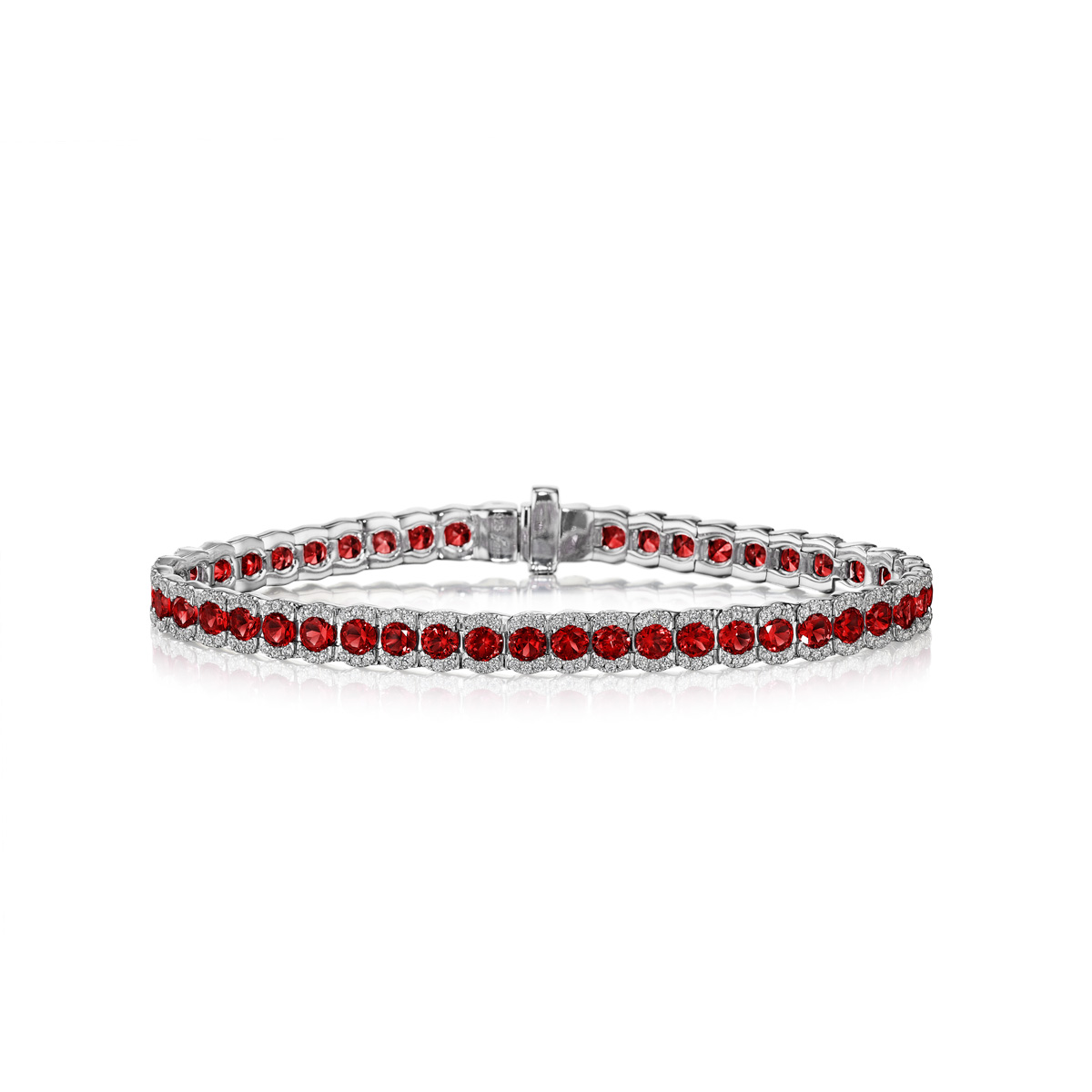 Brilliant in Red Ruby and Diamond Bracelet - This brilliant in red ruby and diamond bracelet comes in a variety of material types like 14k white gold, yellow gold, rose gold and can be customized with your jeweler. Classic Fana gemstone bracelets are perfect for that special woman in your life.