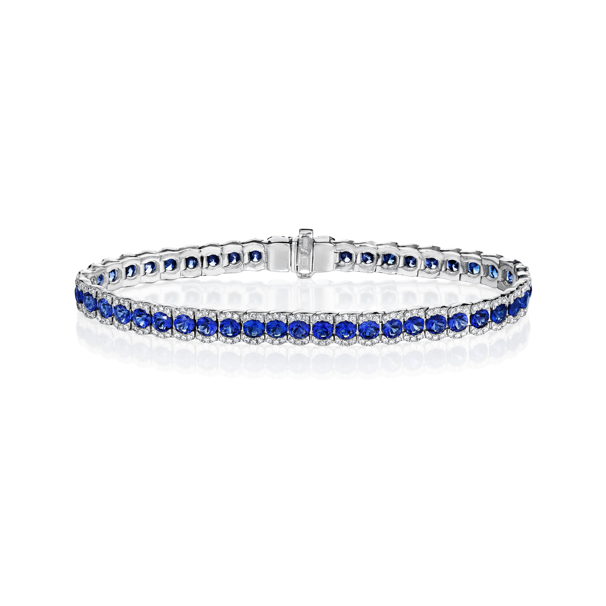 Brilliant in Blue Sapphire and Diamond Bracelet - This brilliant in blue sapphire and diamond bracelet comes in a variety of material types like 14k white gold, yellow gold, rose gold and can be customized with your jeweler. Fana gemstone bracelets are perfect for that special woman in your life.