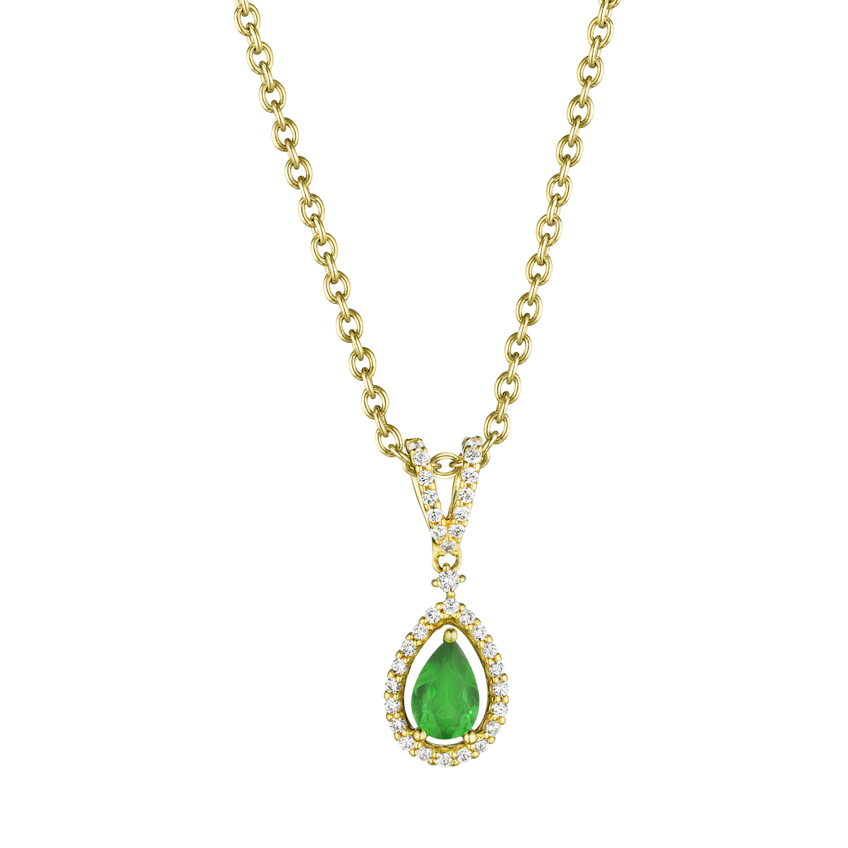 Pear Shape Emerald and Diamond Pendant - This pear shape emerald and diamond pendant comes in a variety of material types like 14k white gold, yellow gold, rose gold and can be customized with your jeweler. Fana gemstone earrings are perfect for that special woman in your life.