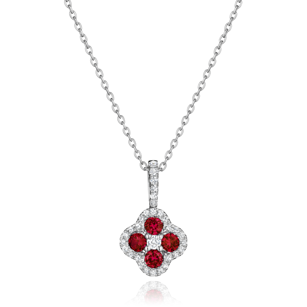 Front & Center Ruby and Diamond Cluster Pendant - This front & center ruby and diamond cluster pendant comes in a variety of material types like 14k white gold, yellow gold, rose gold and can be customized with your jeweler. Fana gemstone earrings are perfect for that special woman in your life.