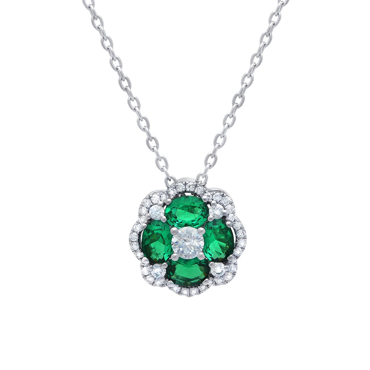 All I Adore Emerald and Diamond Cluster Pendant - This all I adore emerald and diamond cluster pendant comes in a variety of material types like 14k white gold, yellow gold, rose gold and can be customized with your jeweler. Fana gemstone earrings are perfect for that special woman in your life.