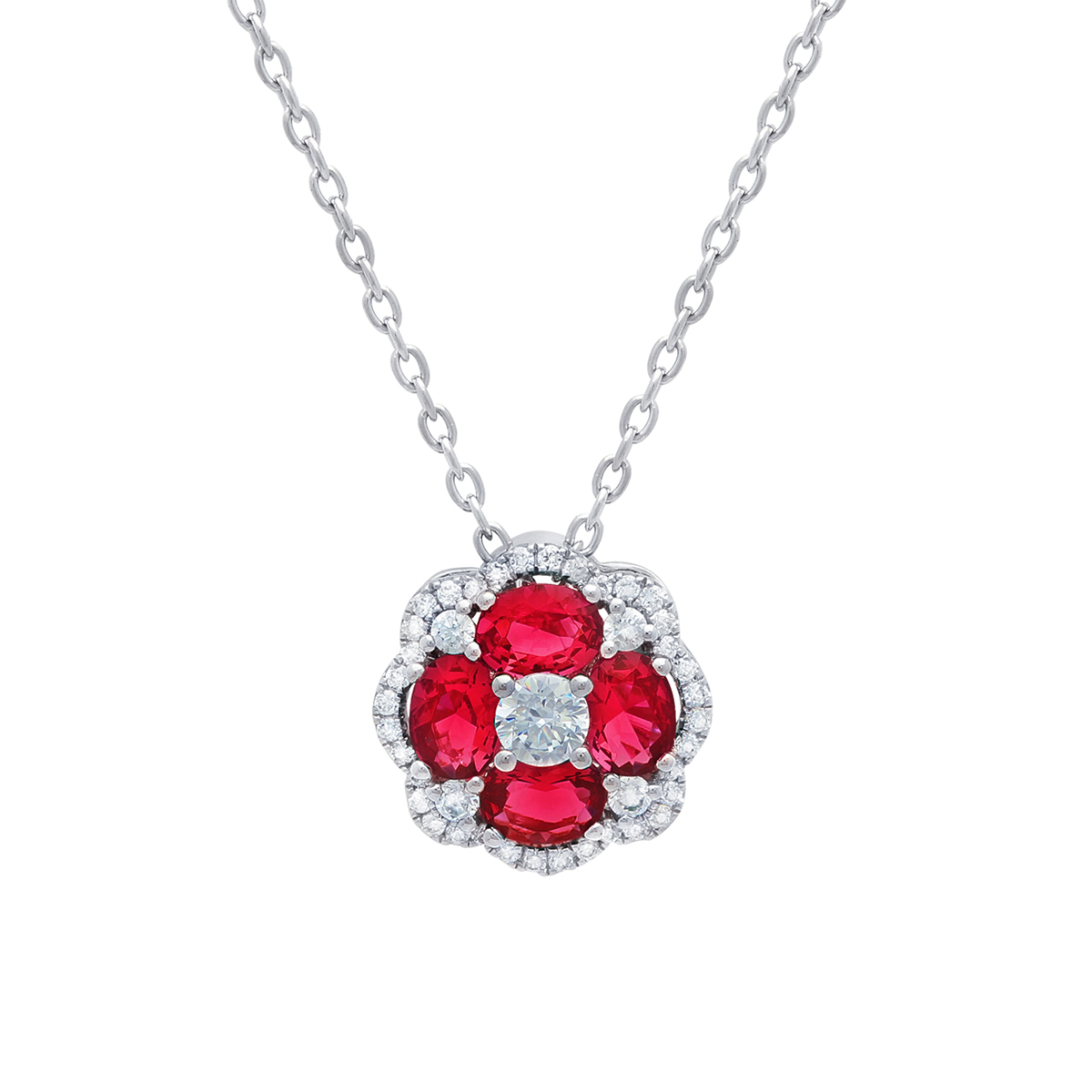 All I Adore Ruby and Diamond Cluster Pendant - This all I adore ruby and diamond cluster pendant comes in a variety of material types like 14k white gold, yellow gold, rose gold and can be customized with your jeweler. Fana gemstone earrings are perfect for that special woman in your life.
