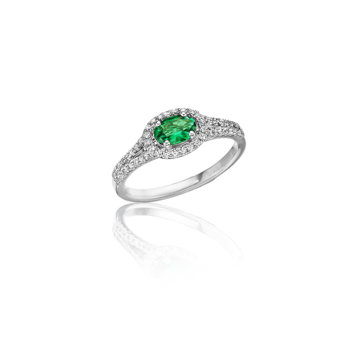 Always On My Mind Emerald and Diamond Oval Cut Ring - This always on my mind emerald and diamond oval cut ring comes in a variety of material types like 14k white gold, yellow gold, rose gold and can be customized with your jeweler. Fana diamond earrings are perfect for that special woman in your life.