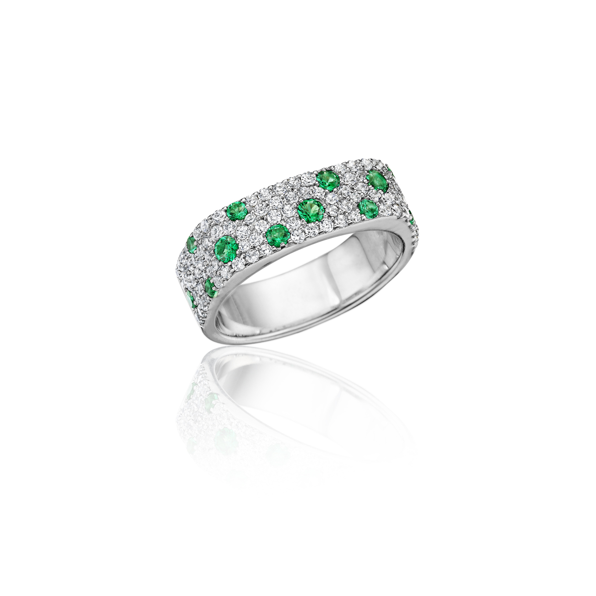Under the Stars Emerald-Speckled Diamond Ring - This under the stars emerald-speckled diamond ring comes in a variety of material types like 14k white gold, yellow gold, rose gold and can be customized with your jeweler. Fana diamond earrings are perfect for that special woman in your life.