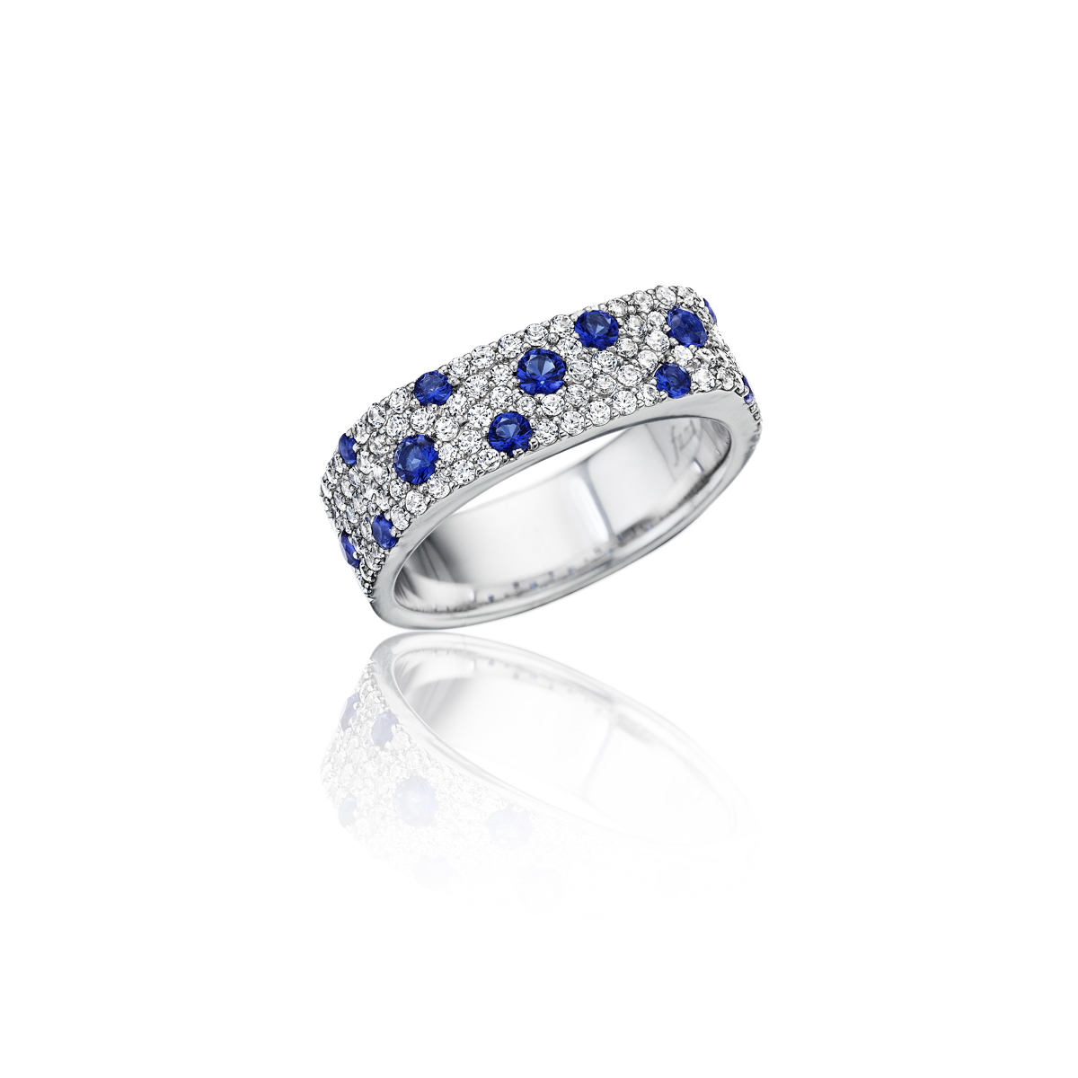 Under the Stars Sapphire-Speckled Diamond Ring - This under the stars sapphire-speckled diamond ring comes in a variety of material types like 14k white gold, yellow gold, rose gold and can be customized with your jeweler. Fana diamond earrings are perfect for that special woman in your life.