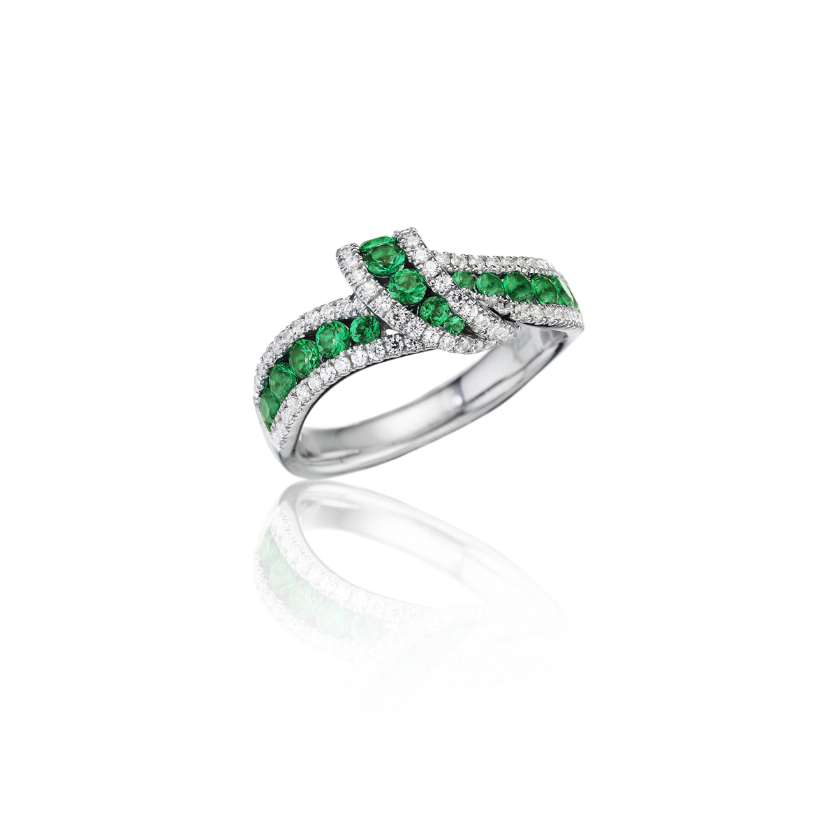 Wrap Me Up Emerald and Diamond Twist Ring - This wrap me up emerald and diamond twist ring comes in a variety of material types like 14k white gold, yellow gold, rose gold and can be customized with your jeweler. Fana diamond earrings are perfect for that special woman in your life.