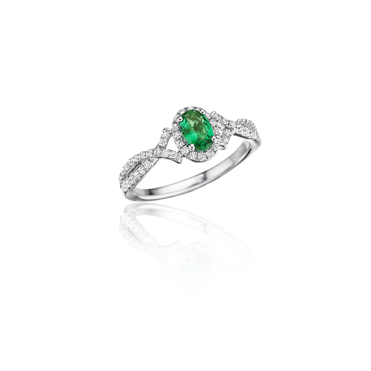 Swirls of Love Emerald and Diamond Twist Ring - This swirls of love emerald and diamond twist ring comes in a variety of material types like 14k white gold, yellow gold, rose gold and can be customized with your jeweler. Fana diamond earrings are perfect for that special woman in your life.