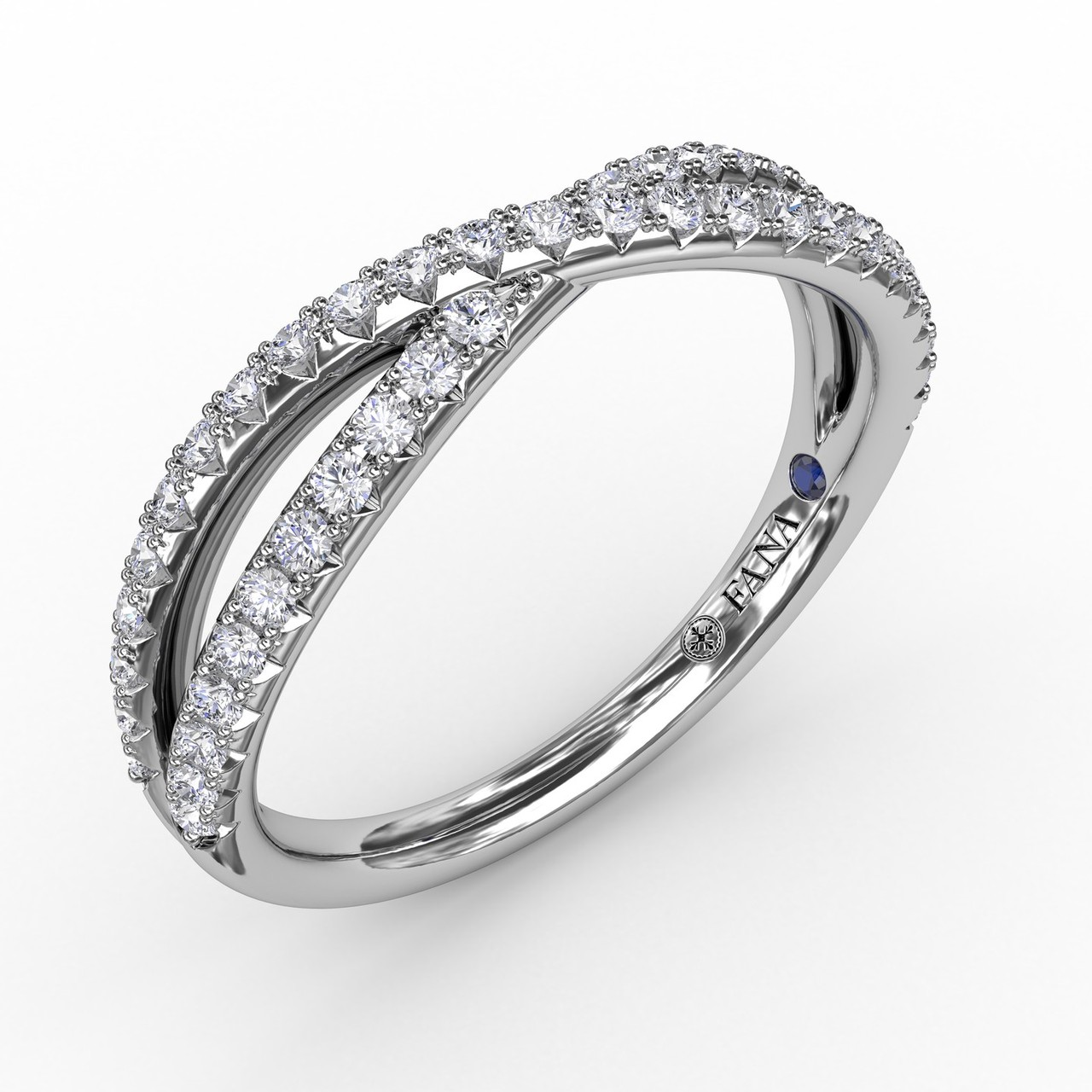 French Pave Crossover Diamond Band - A symbolic reflection of your love, our crossover diamond band is a duo of sparkling diamond ribbons intertwined with the promise of forever.   Perfect for stacking, this band is available in Platinum, 18KT & 14KT gold and can be customized through an Authorized Fana Retailer.