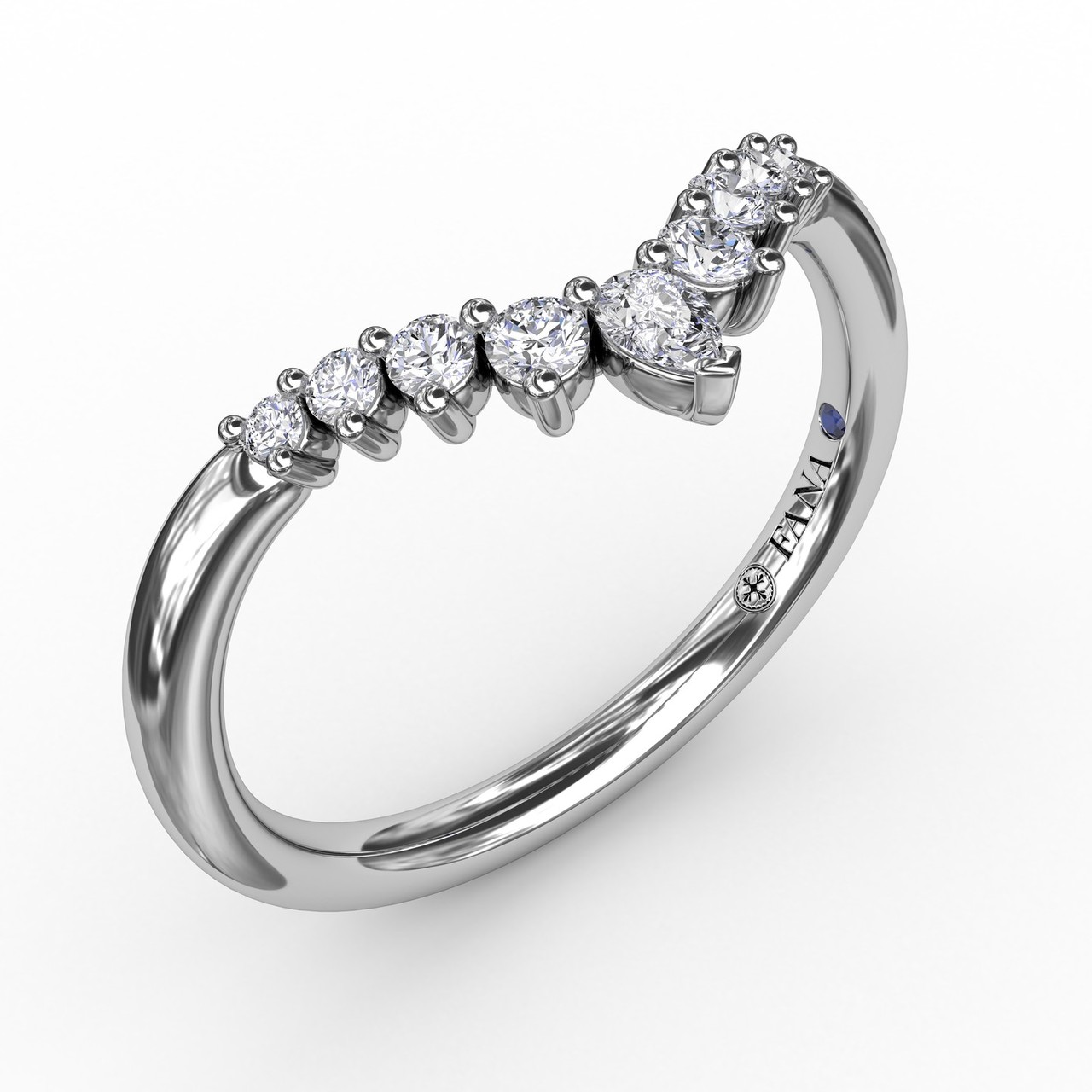 Prong Set Chevron Diamond Band - Simply darling, our prong set chevron band is meticulously set with tapered diamonds and topped off with a dazzling pear shaped diamond.  Perfect for stacking, this band is available in Platinum, 18KT & 14KT gold and can be customized through an Authorized Fana Retailer.