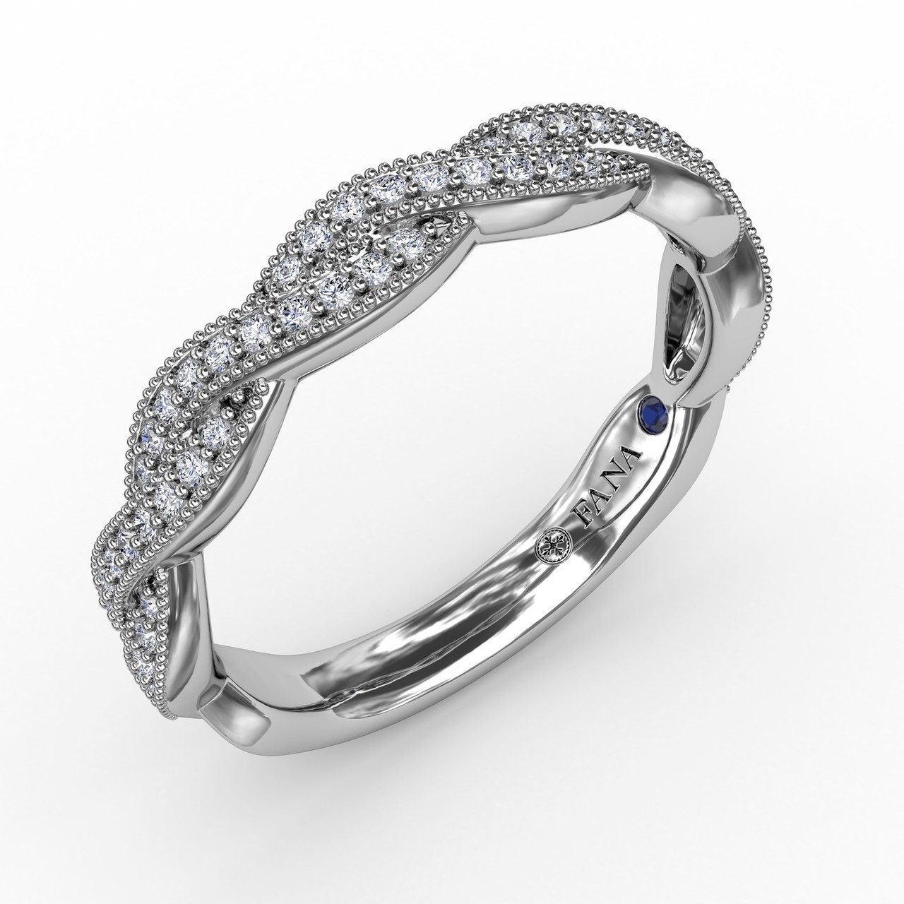 Vintage Twisted Diamond Band - Perfect for stacking, our vintage inspired twisted and expertly set diamond band will capture your heart with it's endless possibilites. This band is available in Platinum, 18KT & 14KT gold and can be customized through an Authorized Fana Retailer.