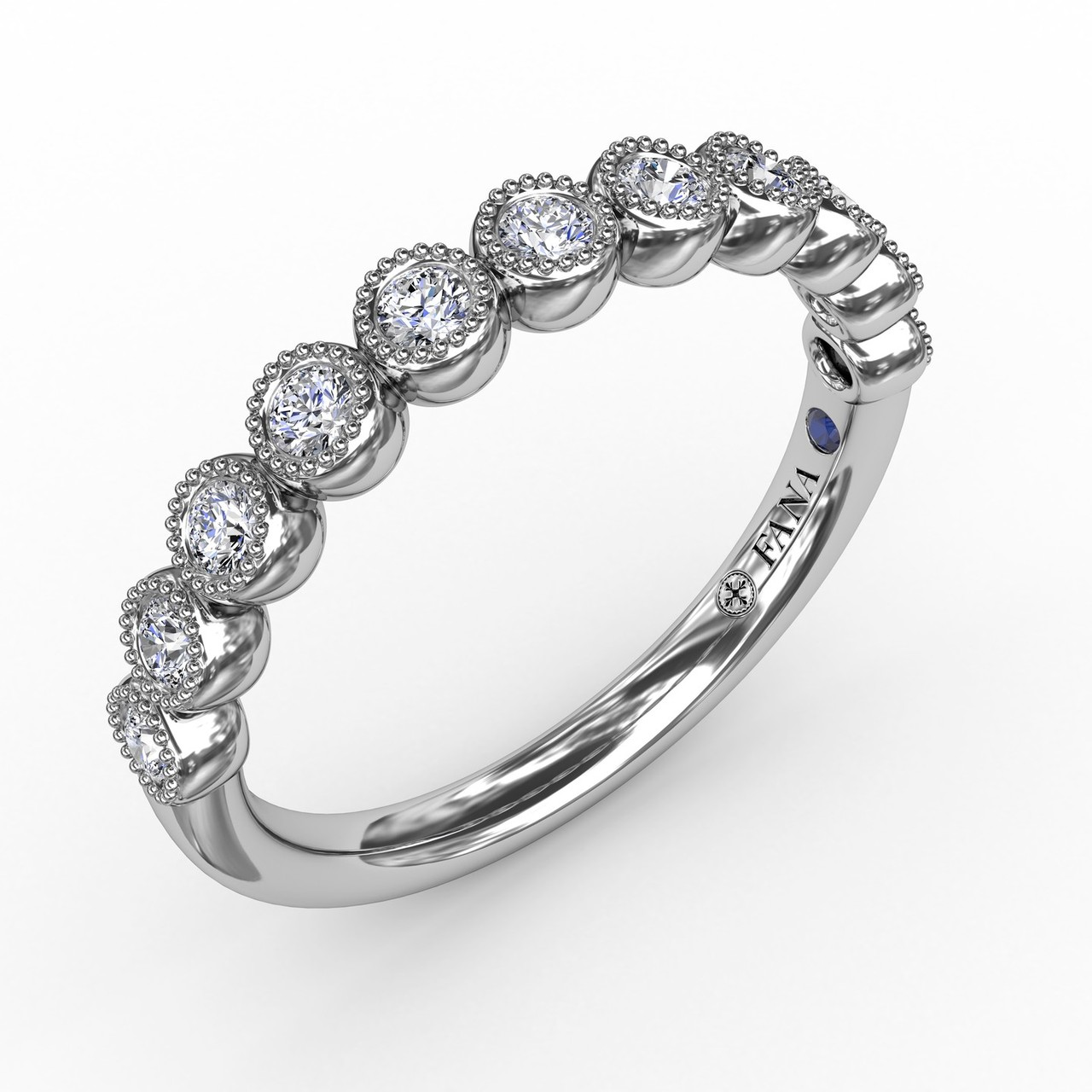 Vintage Bezel Set Diamond Band  - Glamour is in the details.  Our vintage inspired bezel set diamond band offers sophisticated artistry for those with a vintage aesthetic. Perfect for stacking, this band is available in Platinum, 18KT & 14KT gold and can be customized through an Authorized Fana Retailer.