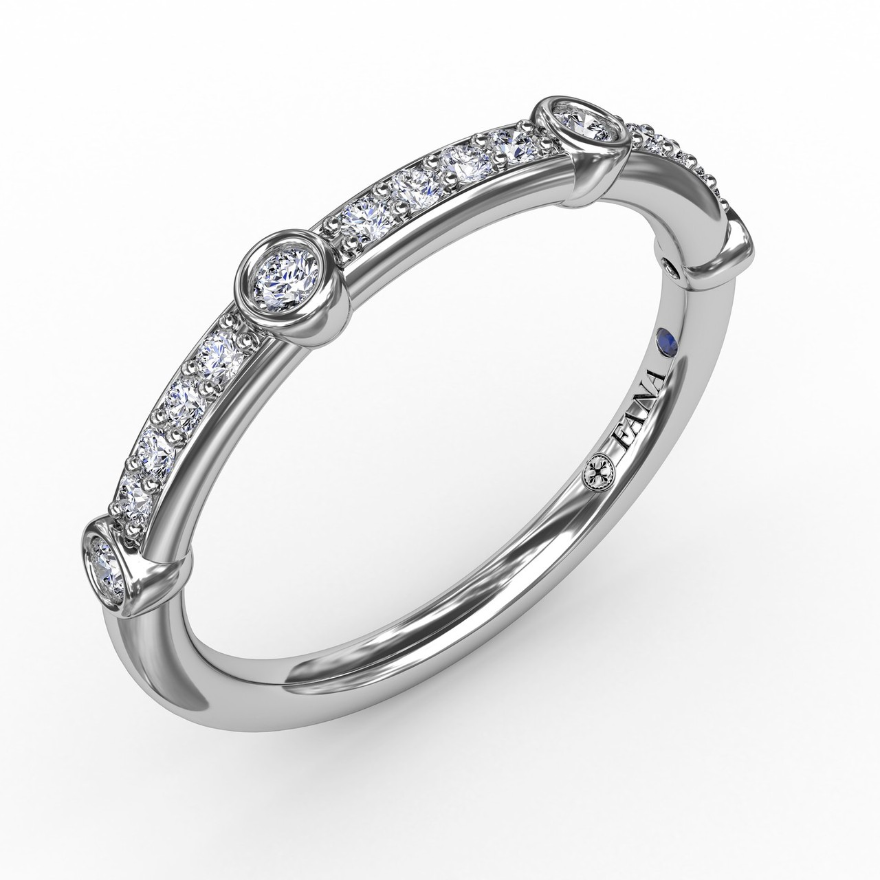 Bead Set Diamond Band with Diamond Bezel Stations - A classic straight diamond band is accented by diamond bezel stations for a whimsical twist on tradition.  Perfect for stacking, this band is available in Platinum, 18KT & 14KT gold and can be customized through an Authorized Fana Retailer.